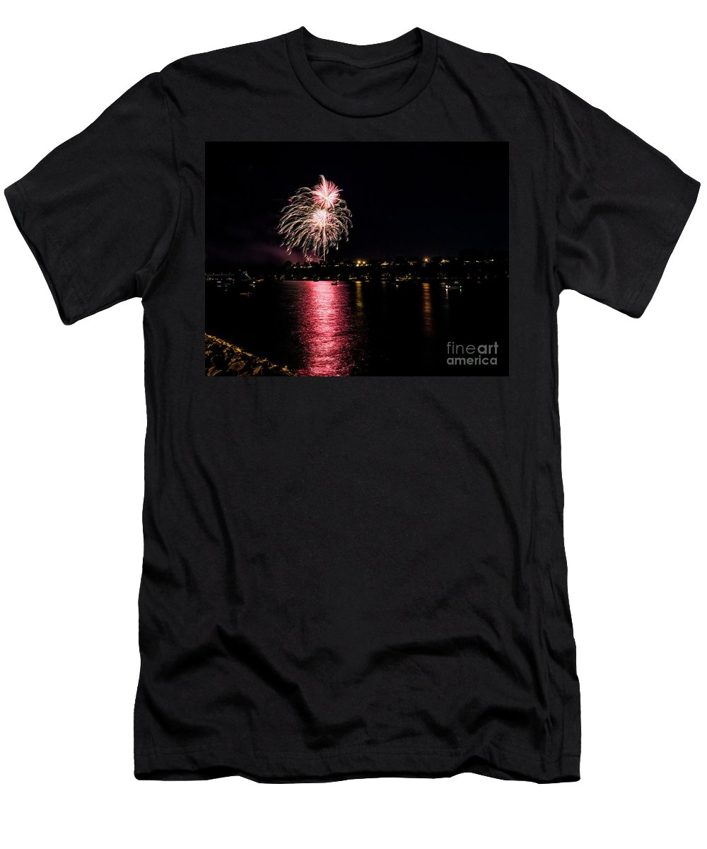 Men's T-Shirt (Athletic Fit) featuring the photograph July Fireworks by Marcia Darby