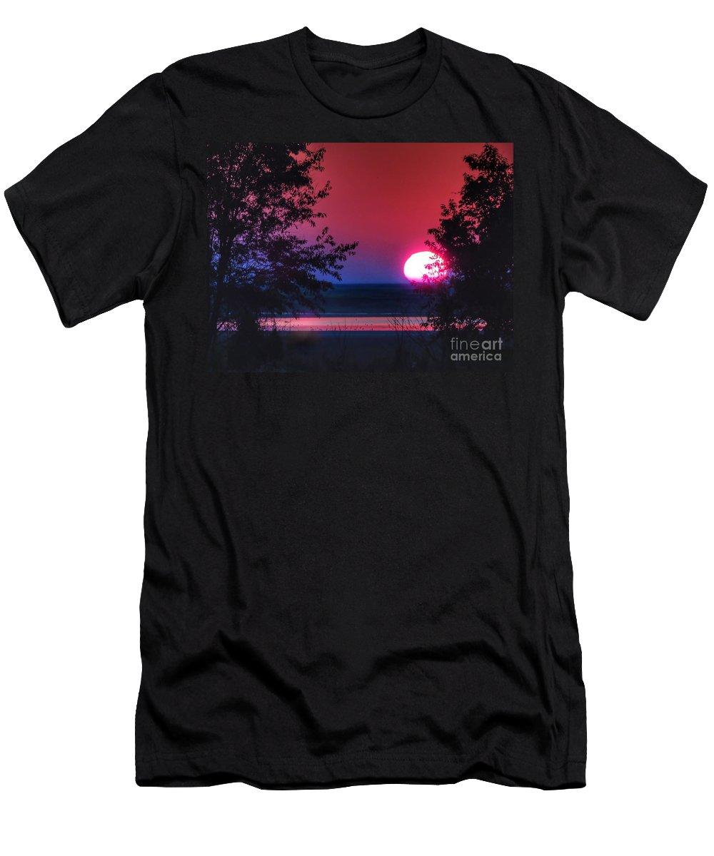 Sunrise Men's T-Shirt (Athletic Fit) featuring the photograph July Sunrise 1 by Rrrose Pix