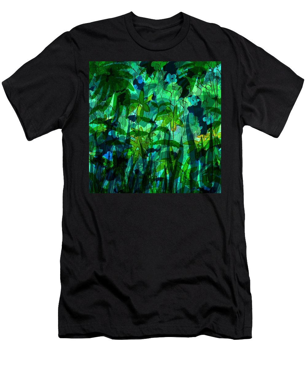 Abstract Men's T-Shirt (Athletic Fit) featuring the digital art Jungle Colors by Rachel Christine Nowicki