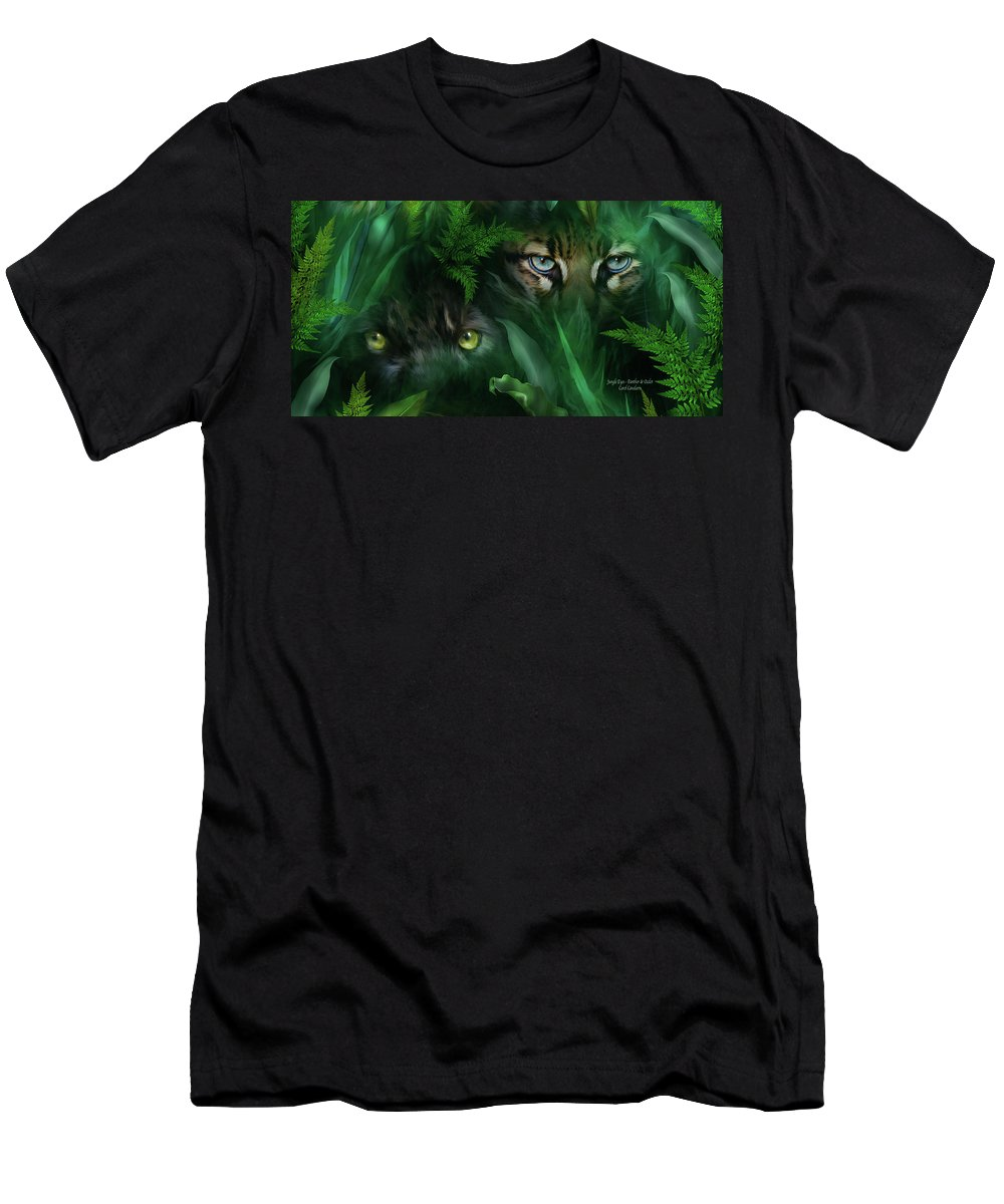Big Cat Art Men's T-Shirt (Athletic Fit) featuring the mixed media Jungle Eyes - Panther And Ocelot by Carol Cavalaris