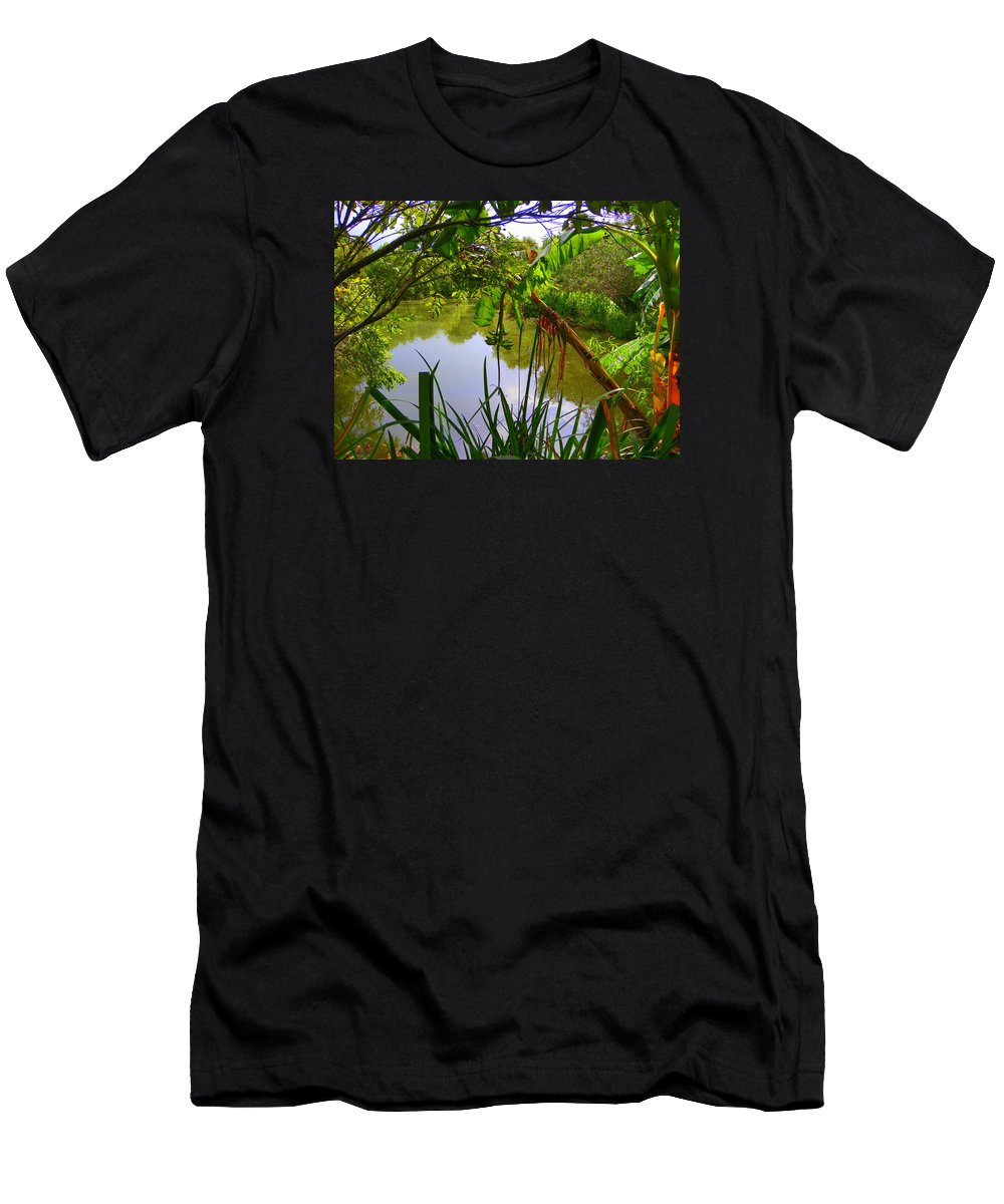 Jungle Garden Botanical Garden Men's T-Shirt (Athletic Fit) featuring the photograph Jungle Garden View by Sheri McLeroy