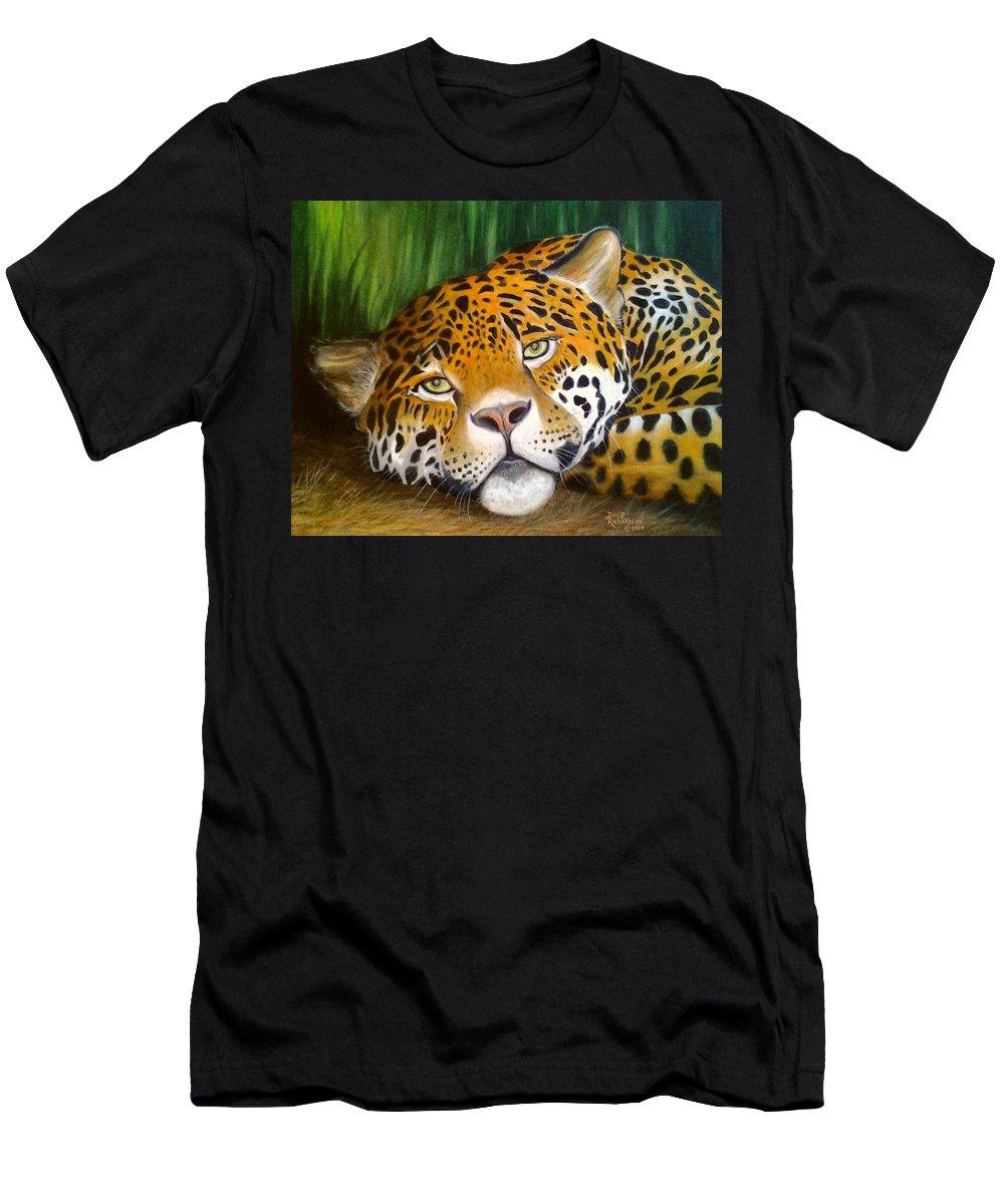 Jaguar Men's T-Shirt (Athletic Fit) featuring the painting Jungle King by David Richardson