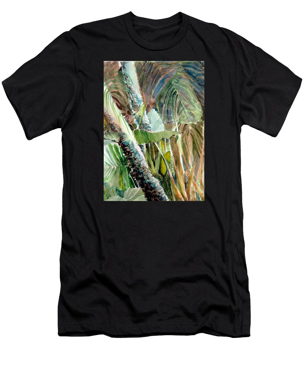 Palm Tree Men's T-Shirt (Athletic Fit) featuring the painting Jungle Light by Mindy Newman