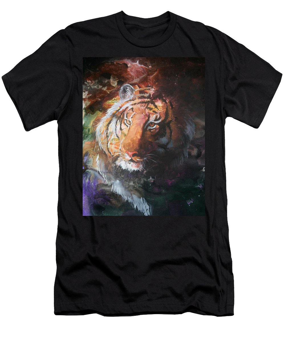 Tiger Men's T-Shirt (Athletic Fit) featuring the painting Jungle Tiger by Sherry Shipley