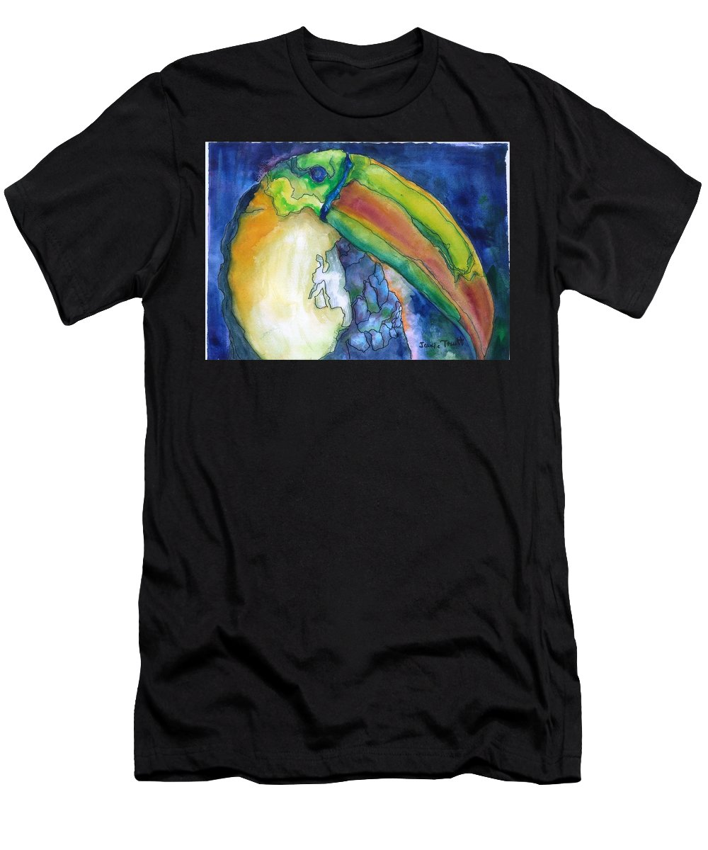 Toucan Men's T-Shirt (Athletic Fit) featuring the painting Jungle Toucan by Jeanie Truitt