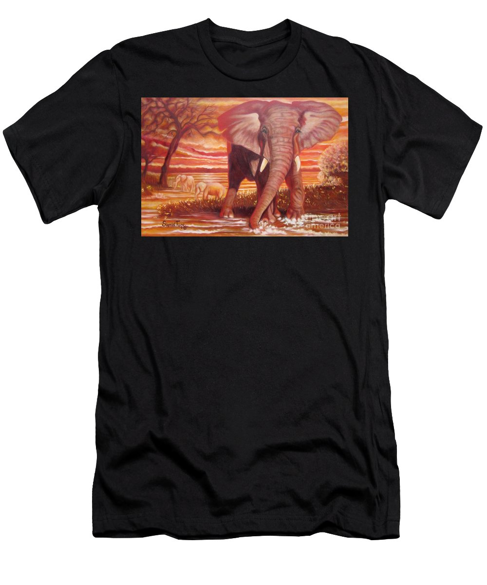 Elephant Men's T-Shirt (Athletic Fit) featuring the painting Blaa Kattproduksjoner    Junior Takes A Drink by Sigrid Tune