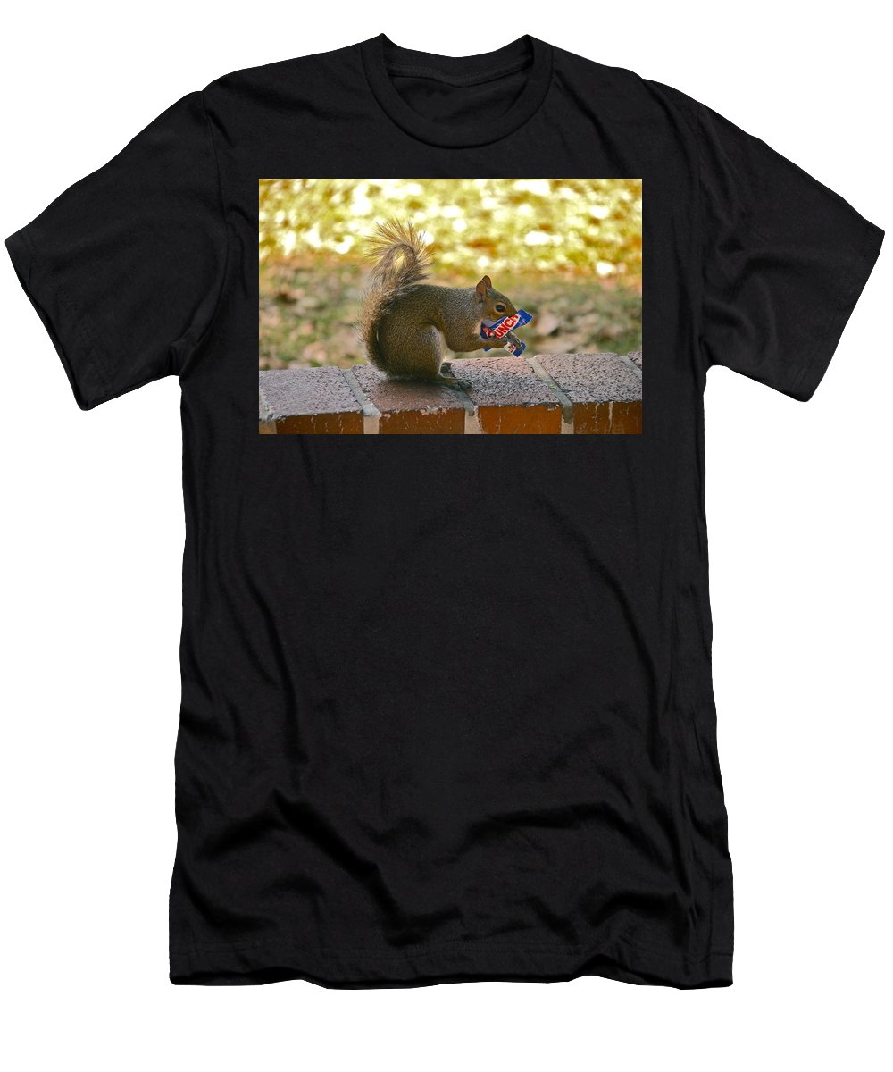 Squirrel Men's T-Shirt (Athletic Fit) featuring the photograph Junk Food Squirrel by Denise Mazzocco