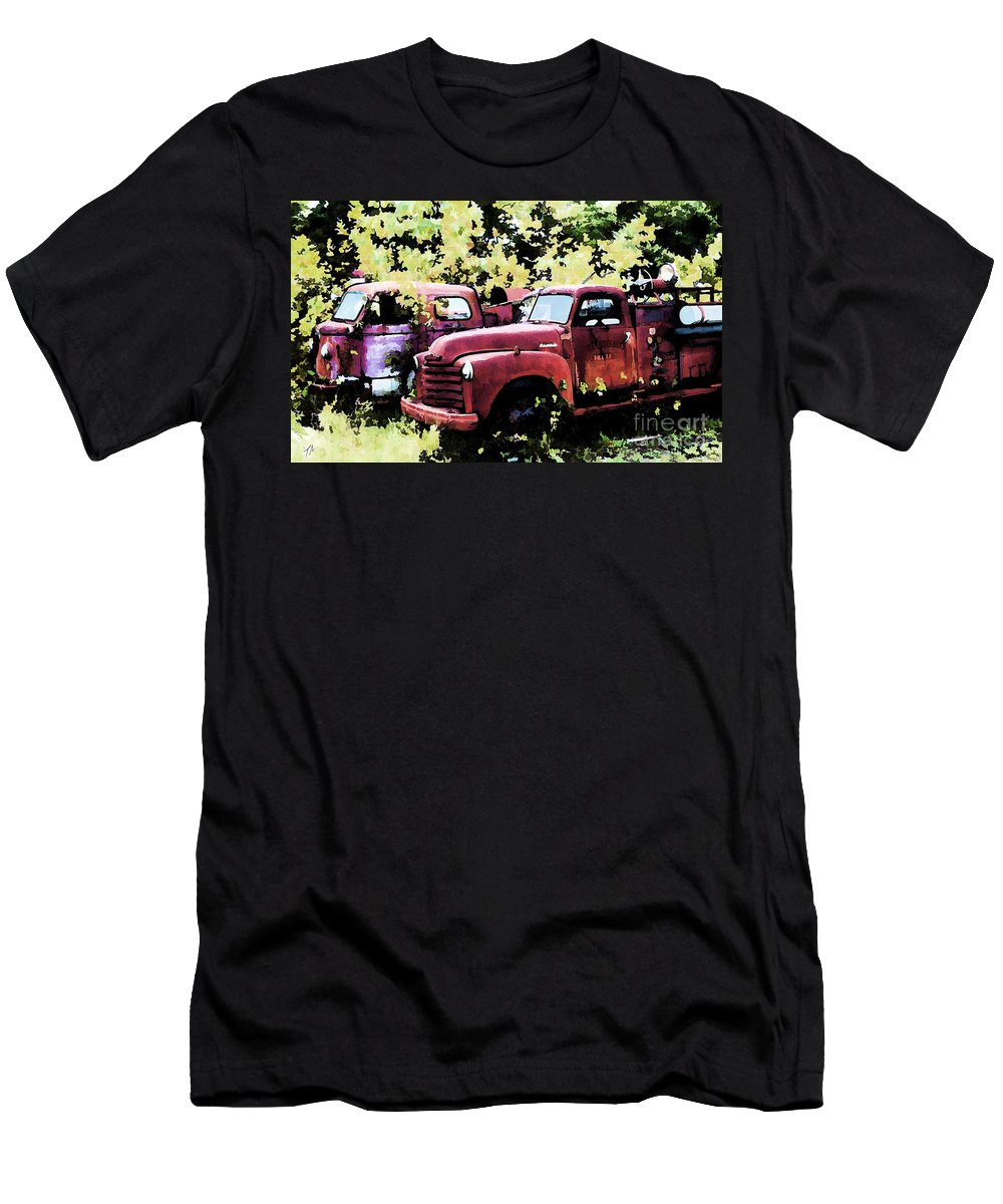 American La France Men's T-Shirt (Athletic Fit) featuring the digital art Junked Fire Engines by Tommy Anderson