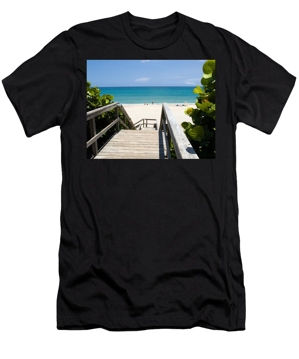 Juno; Florida; Loxahatchee; River; Jupiter; Inlet; Swim; Swimming; Children; Girl; Boy; Woman; Man; Men's T-Shirt (Athletic Fit) featuring the photograph Juno Beach Florida by Allan Hughes