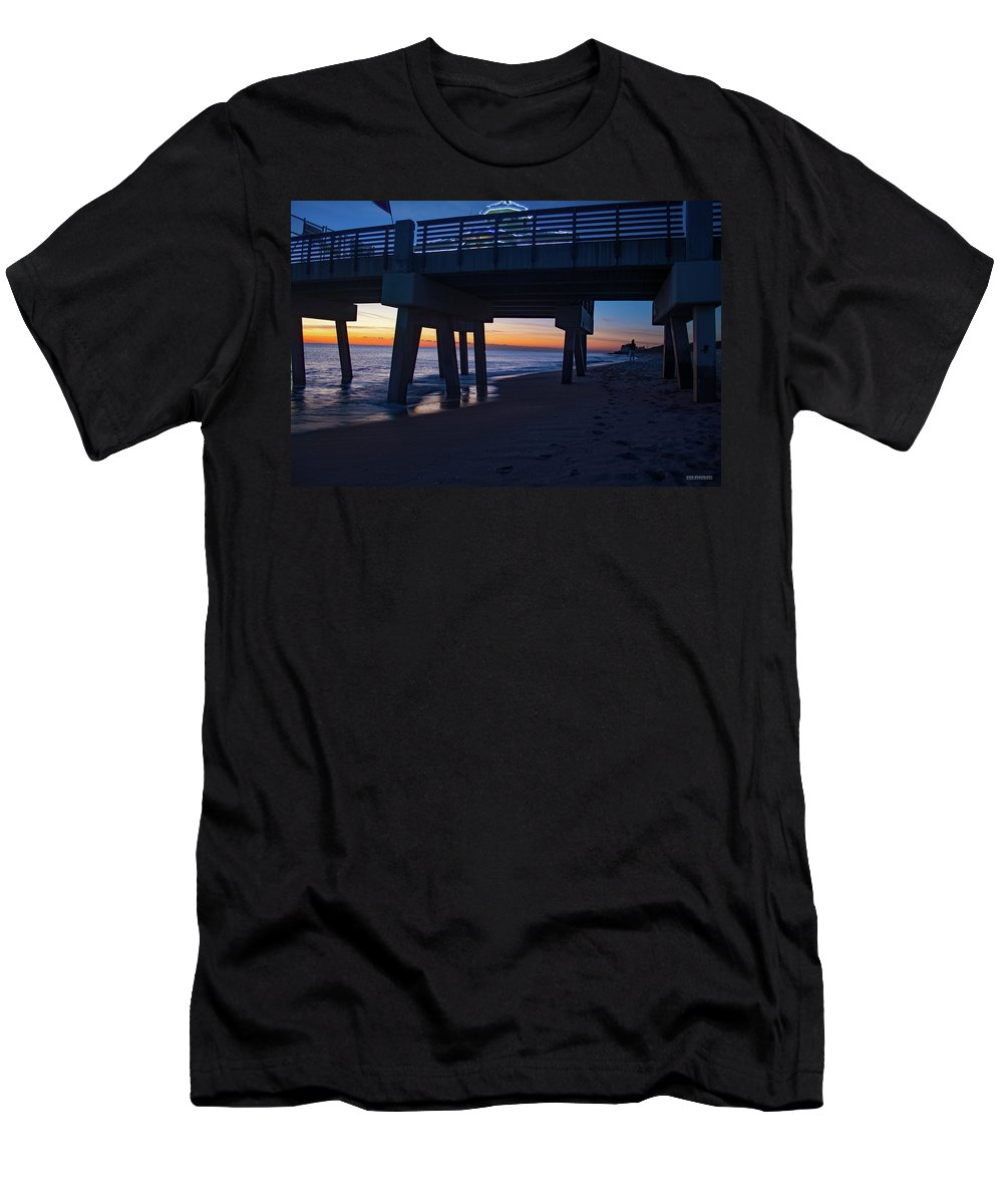 Delray Men's T-Shirt (Athletic Fit) featuring the photograph Juno Pier Moring Gaze by Ken Figurski