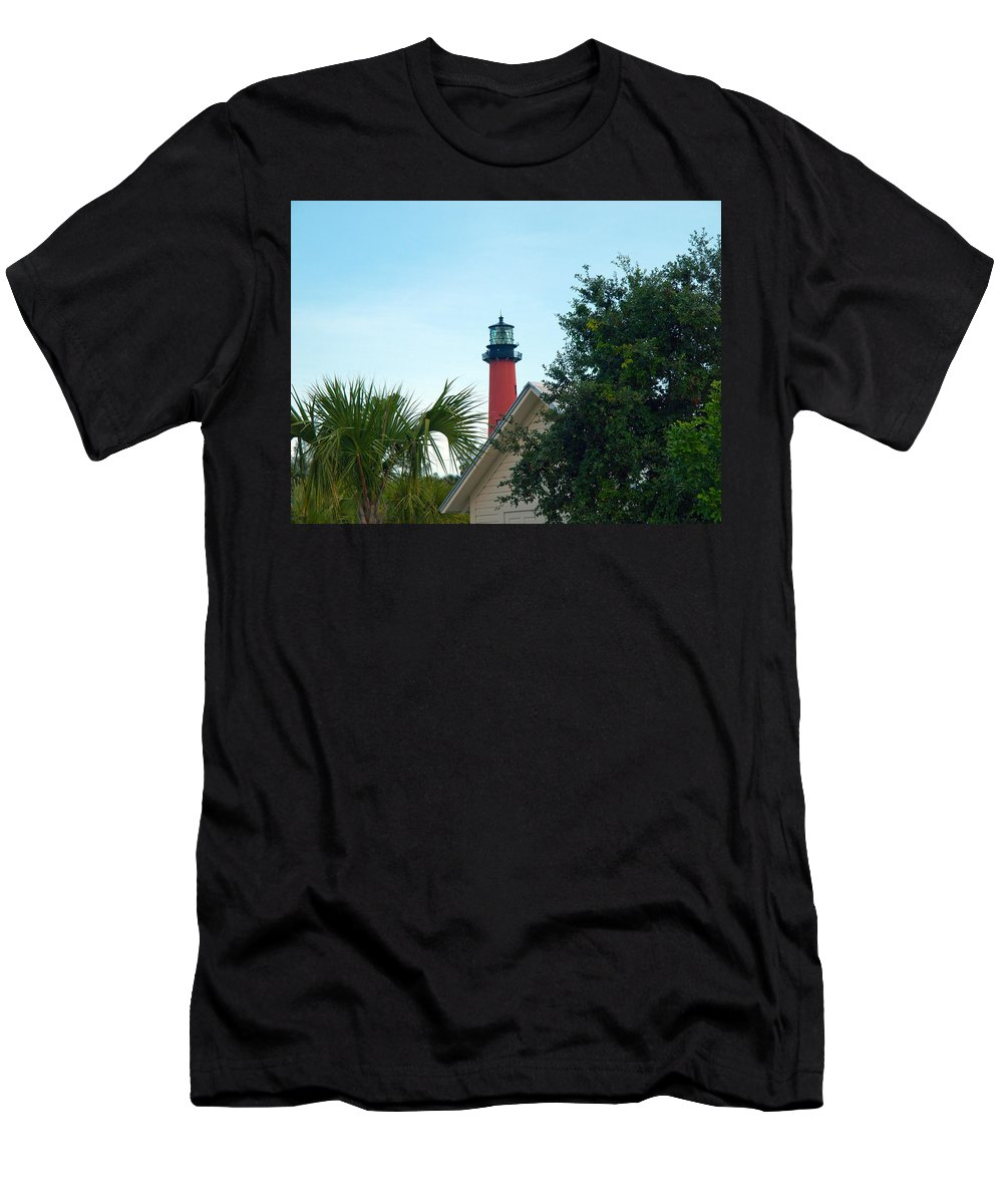Florida; Juptier; Inlet; Loxahatchee; River; Atlantic; Coast; Shore; Beach; Light; Lighthouse; Beaco Men's T-Shirt (Athletic Fit) featuring the photograph Jupiter Light by Allan Hughes