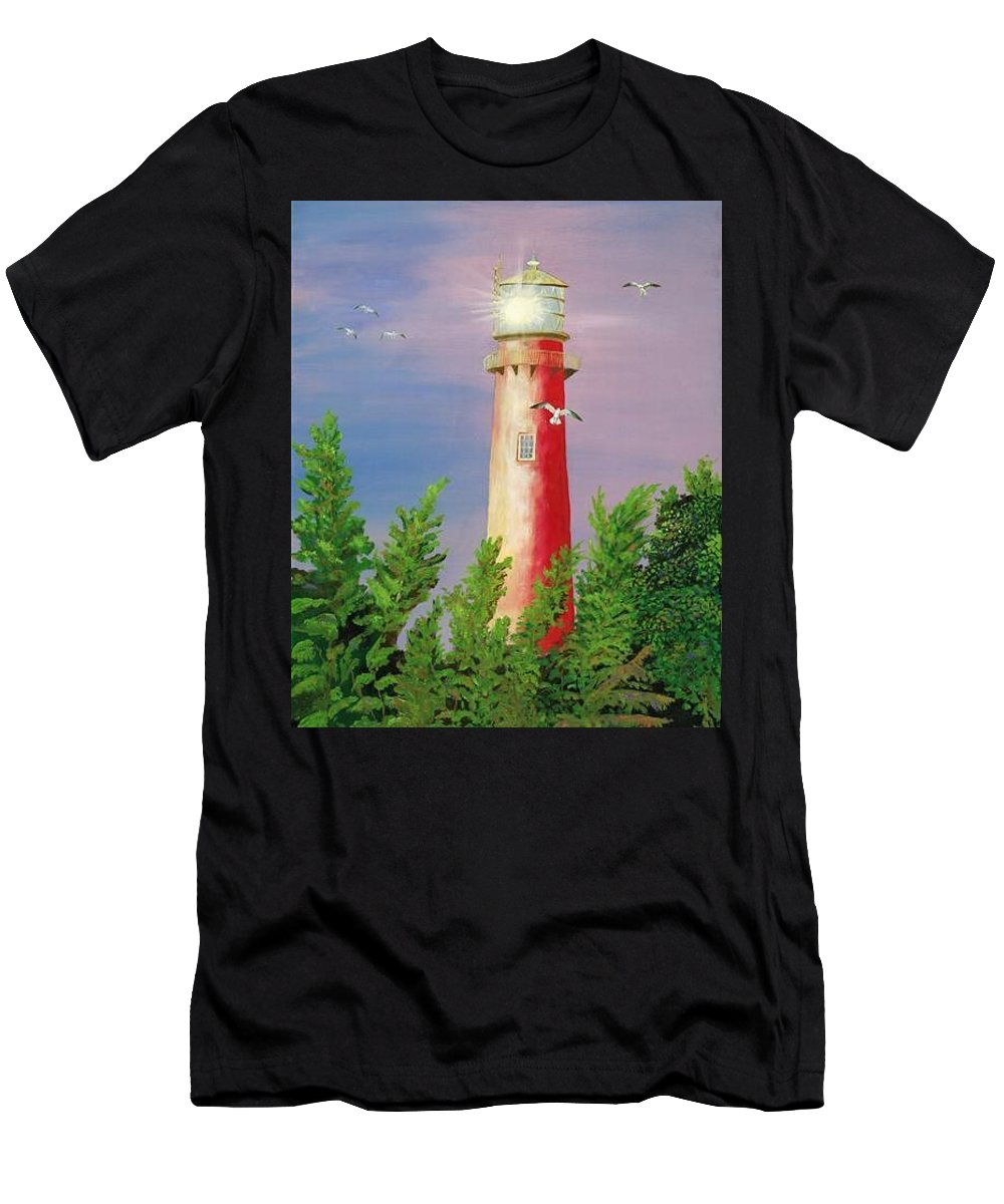 Lighthouse Men's T-Shirt (Athletic Fit) featuring the painting Jupiter Lighthouse - Sunburst by Esther Gordon
