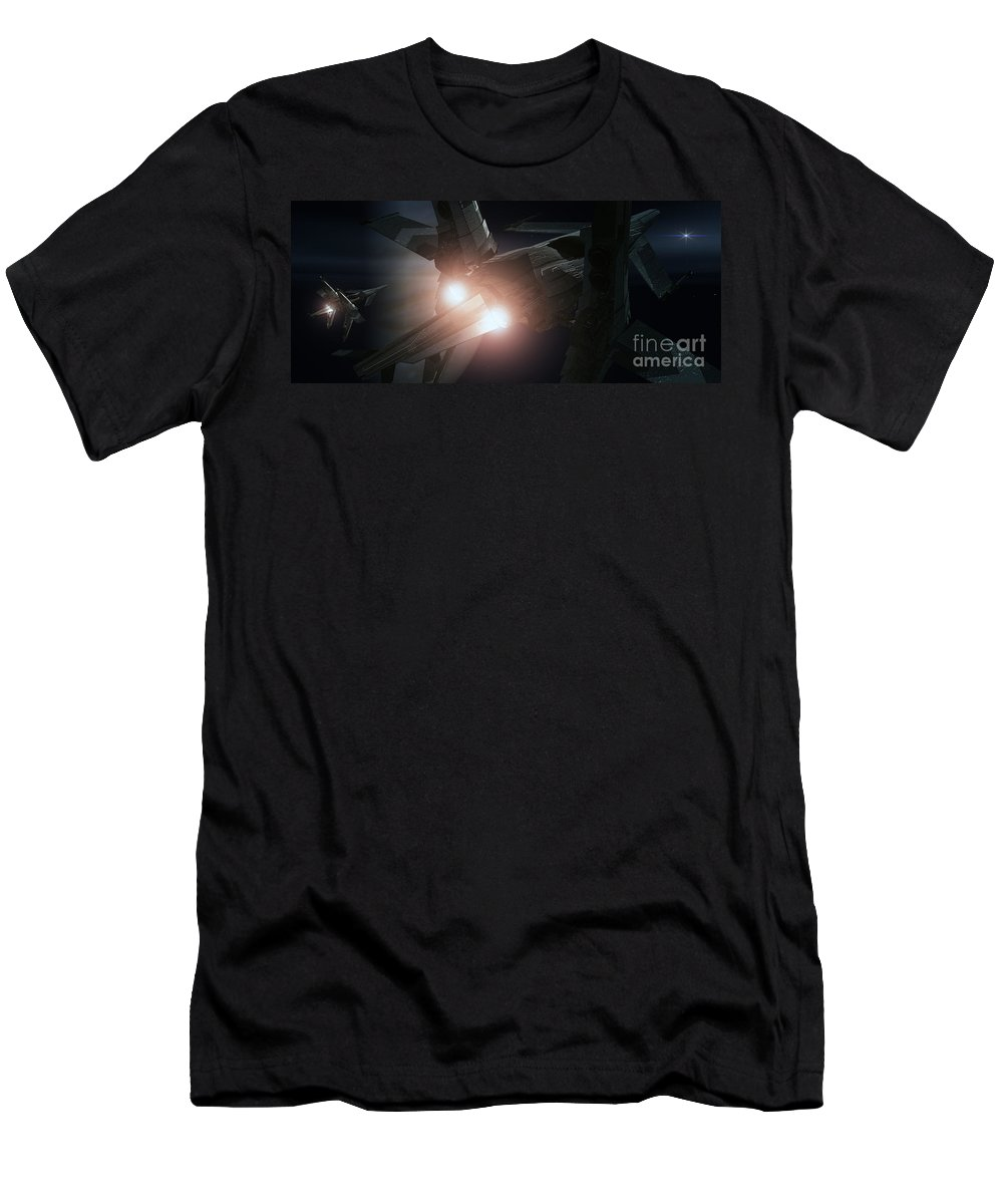 Space Men's T-Shirt (Athletic Fit) featuring the digital art Jupiter Patrol by Richard Rizzo