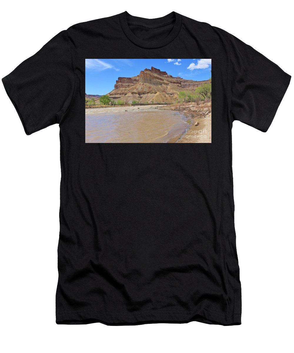 Nature Men's T-Shirt (Athletic Fit) featuring the photograph Just Around The River Bend 7 by Tonya Hance