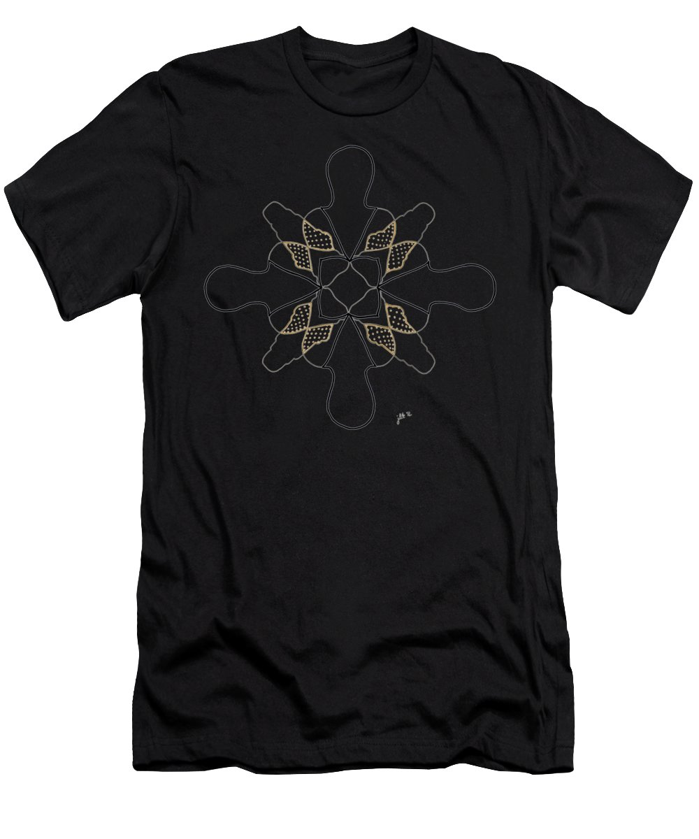 Lori Kingston Men's T-Shirt (Athletic Fit) featuring the drawing Just Dotty - Dark T-shirt by Lori Kingston