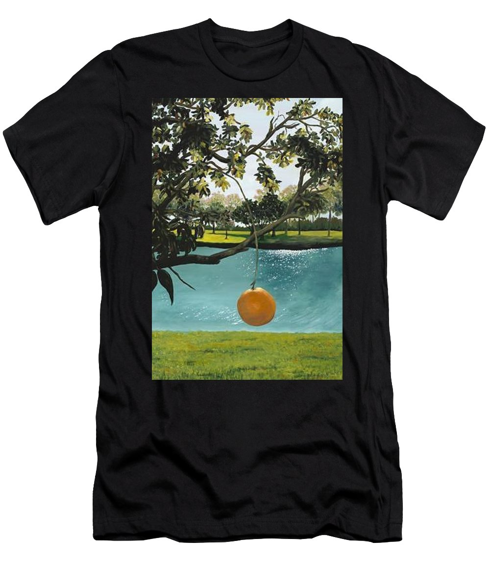 Orange Men's T-Shirt (Athletic Fit) featuring the painting Just Hanging by Esther Gordon