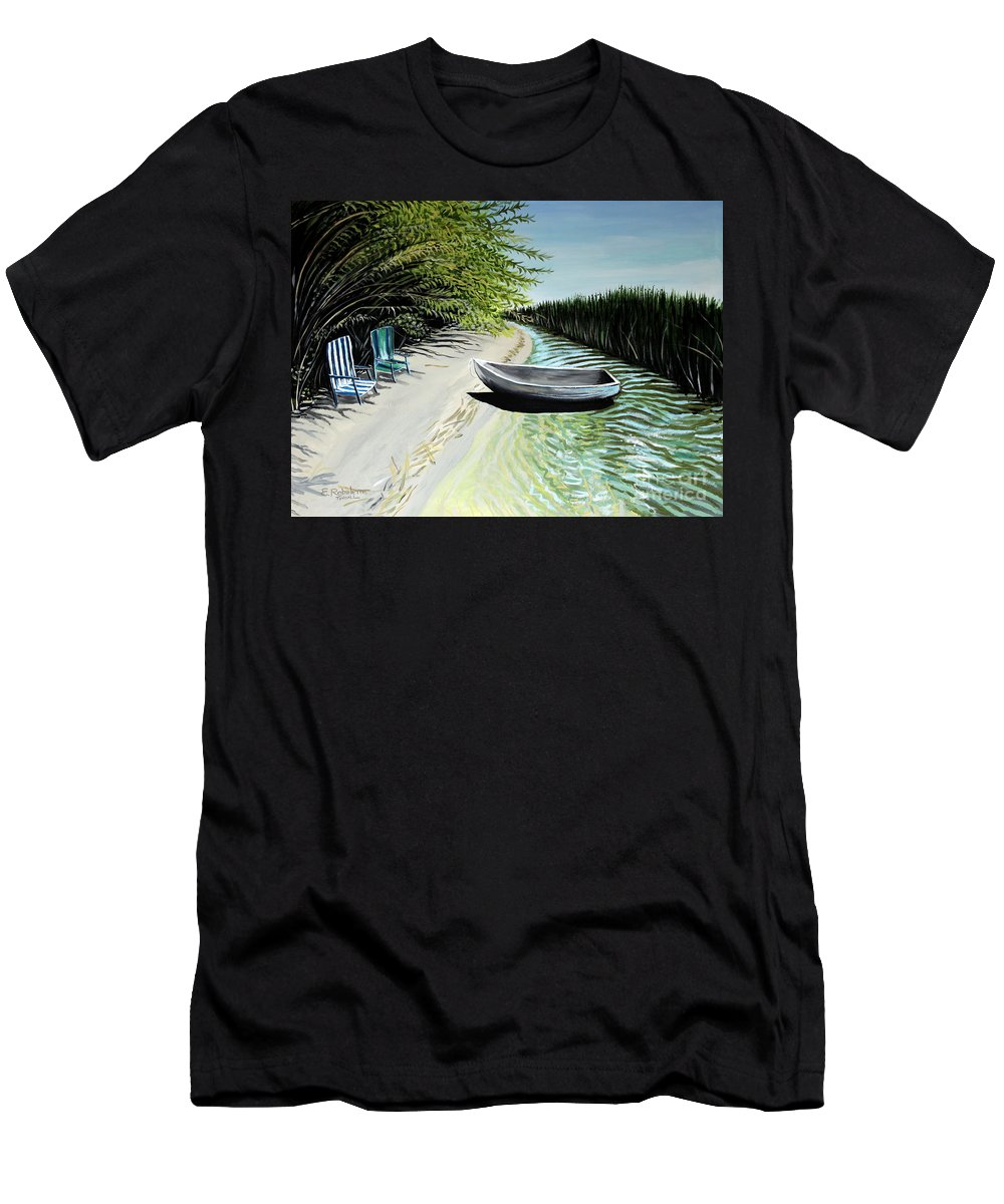 Boat Men's T-Shirt (Athletic Fit) featuring the painting Just You And I by Elizabeth Robinette Tyndall