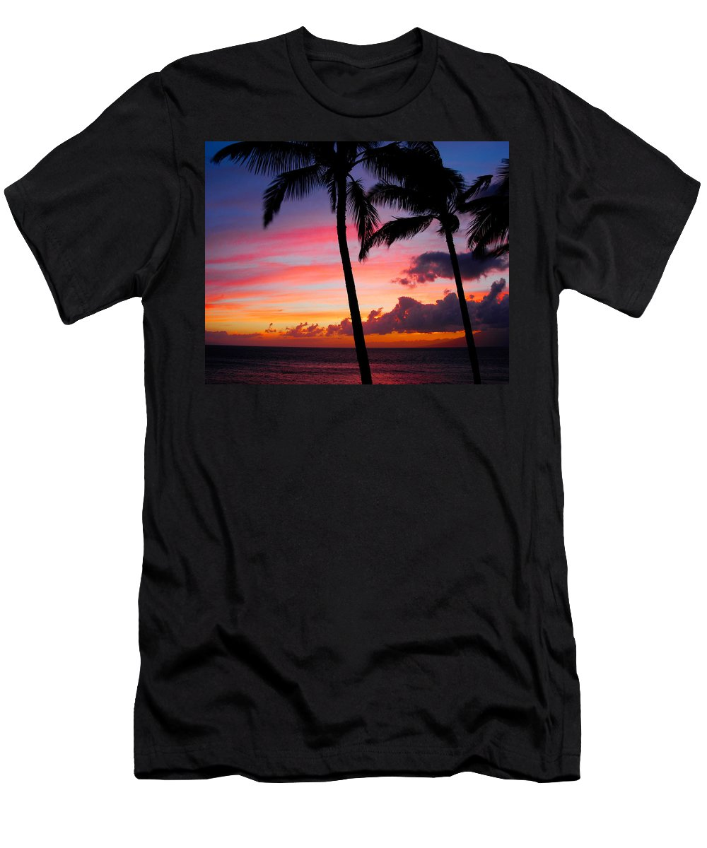 Kaanapali Sunset Men's T-Shirt (Athletic Fit) featuring the photograph Kaanapali Sunset Kaanapali Maui Hawaii by Michael Bessler