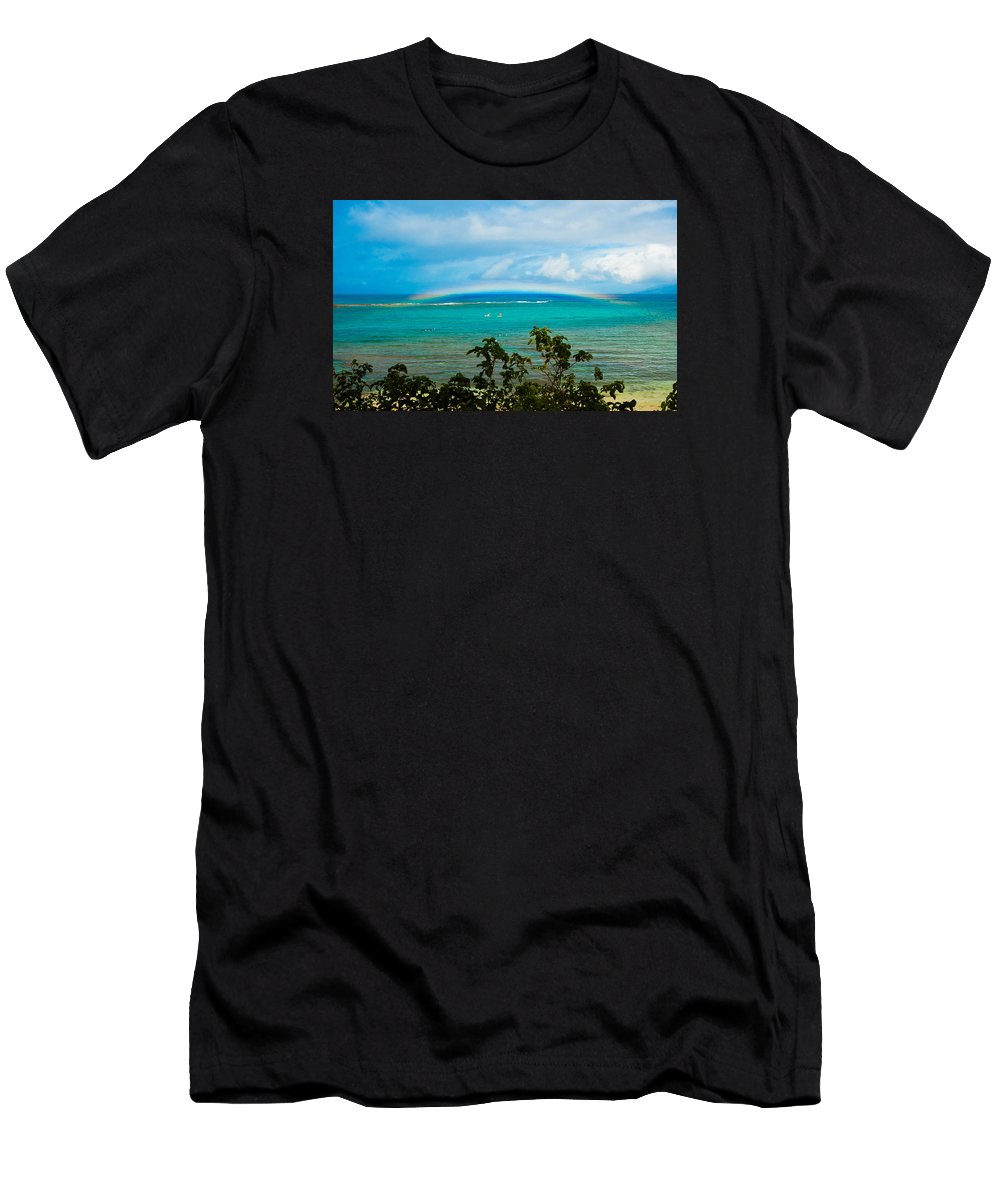 Kapalua Bay Men's T-Shirt (Athletic Fit) featuring the photograph Kapalua Bay Rainbow by Lisa Puaa