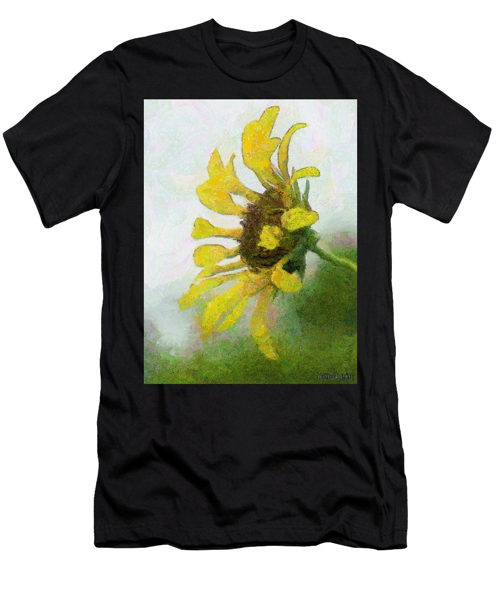 Sunflower Men's T-Shirt (Athletic Fit) featuring the painting Kate's Sunflower by Jeffrey Kolker