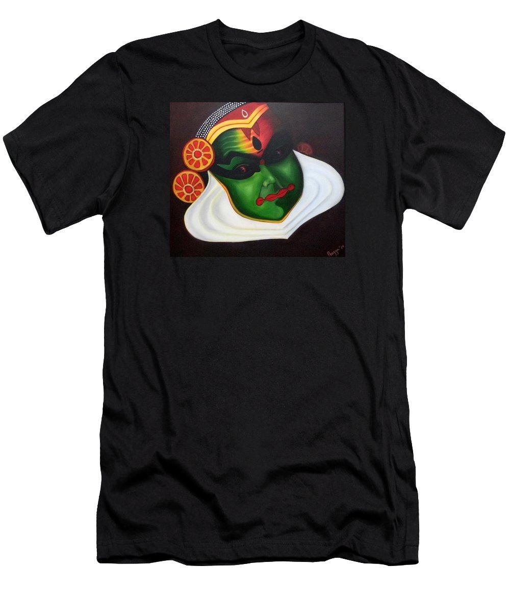 Kathakali Men's T-Shirt (Athletic Fit) featuring the painting Kathakali Dancer by Pragya Suman