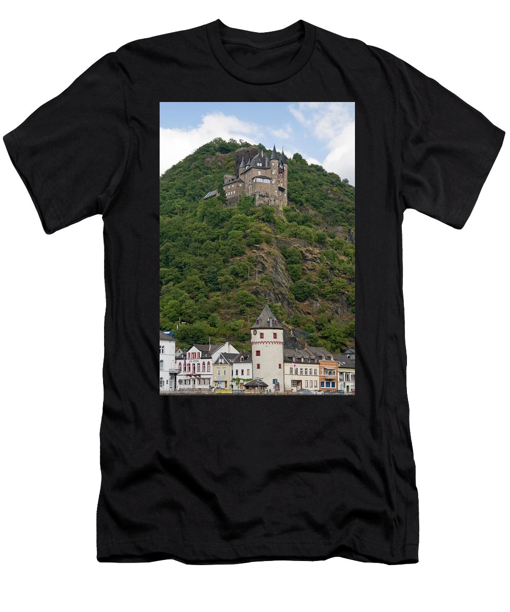 Katz Castle Men's T-Shirt (Athletic Fit) featuring the photograph Katz Castle And Village by Sally Weigand