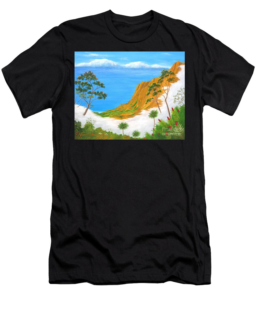 Landscape Men's T-Shirt (Athletic Fit) featuring the painting Kauai Hawaii by Jerome Stumphauzer