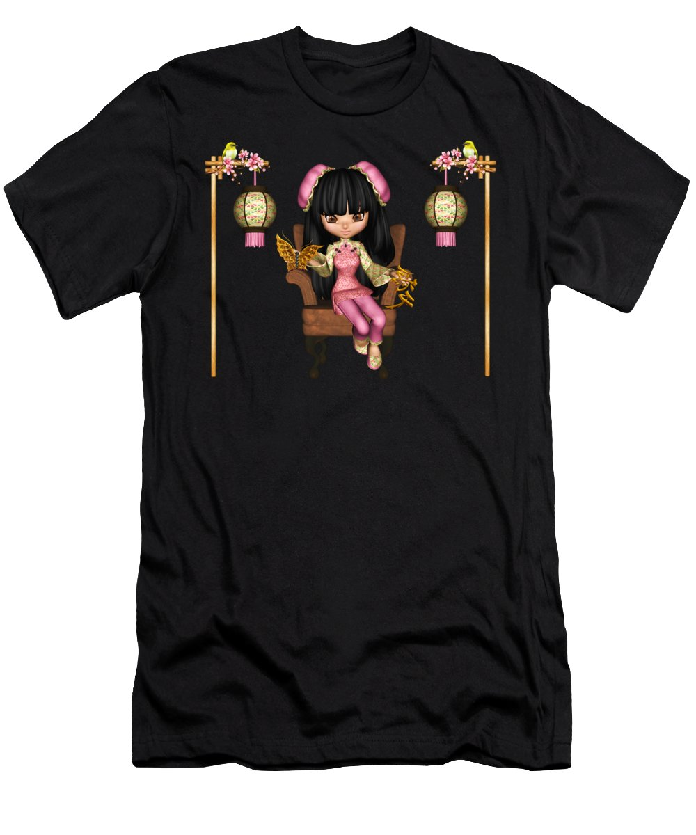 Kawaii China Doll Men's T-Shirt (Athletic Fit) featuring the digital art Kawaii China Doll Scene by Dkate Smith