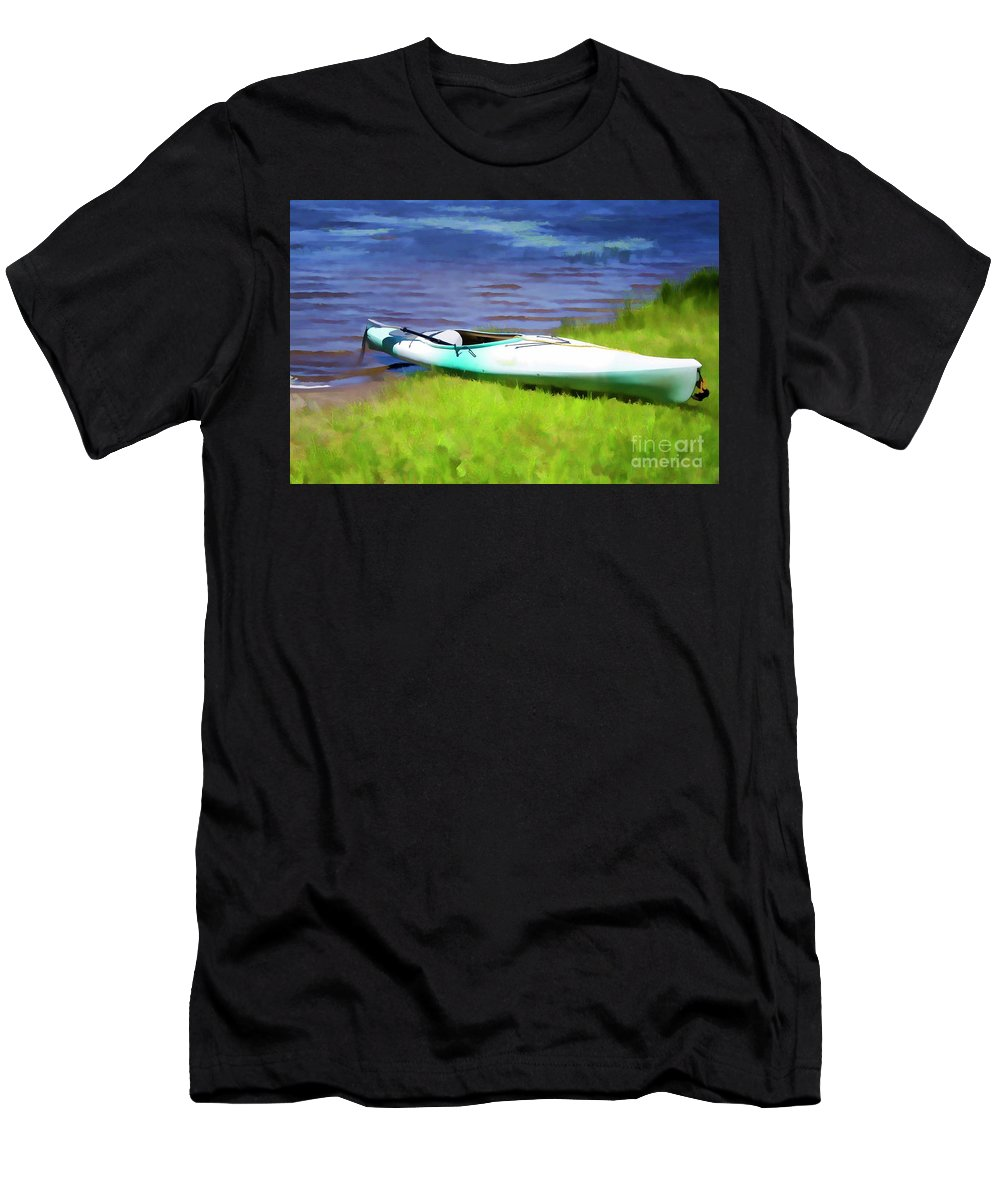 Kayak Men's T-Shirt (Athletic Fit) featuring the painting Kayak In Upstate Ny by Jeelan Clark