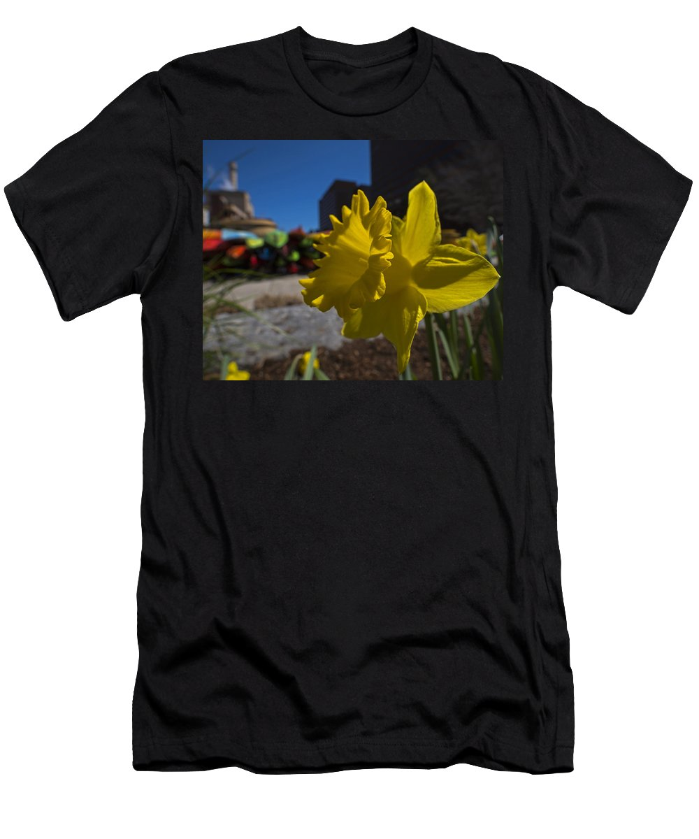 Kayak Men's T-Shirt (Athletic Fit) featuring the photograph Kayak Launch Daffodil Cambridge Ma by Toby McGuire