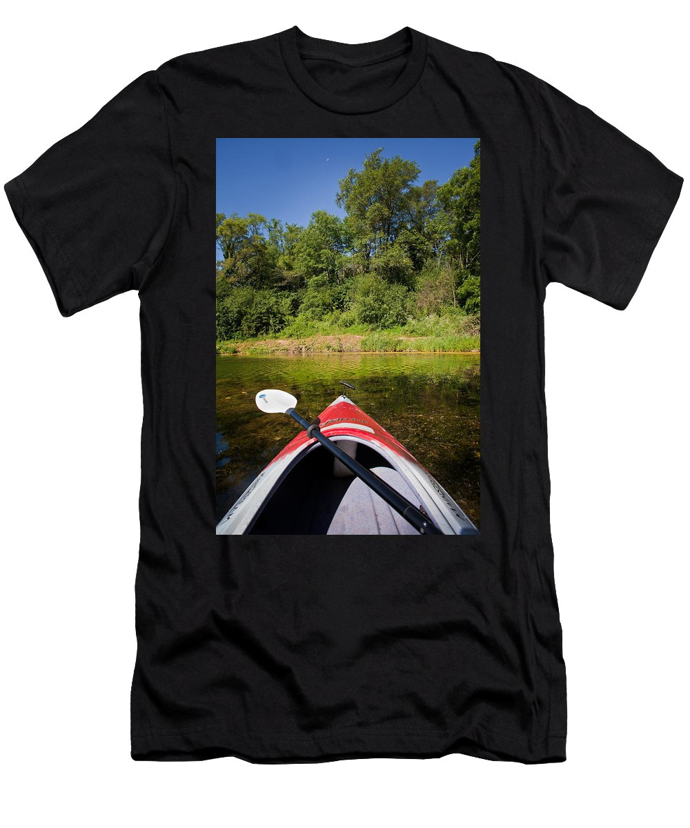 Boat Men's T-Shirt (Athletic Fit) featuring the photograph Kayak On A Forested Lake by Steve Gadomski