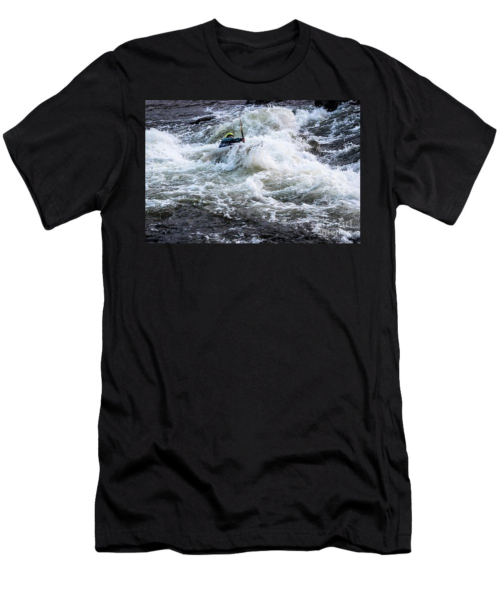 Kayak Men's T-Shirt (Athletic Fit) featuring the photograph Kayak Roll Up In Pipeline Rapids 5959 by Doug Berry