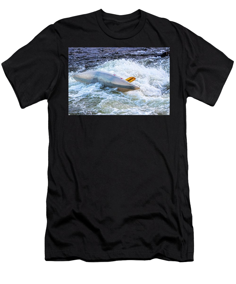 Kayak Men's T-Shirt (Athletic Fit) featuring the photograph Kayaker Goes Over In Pipeline Rapids 5965ct by Doug Berry