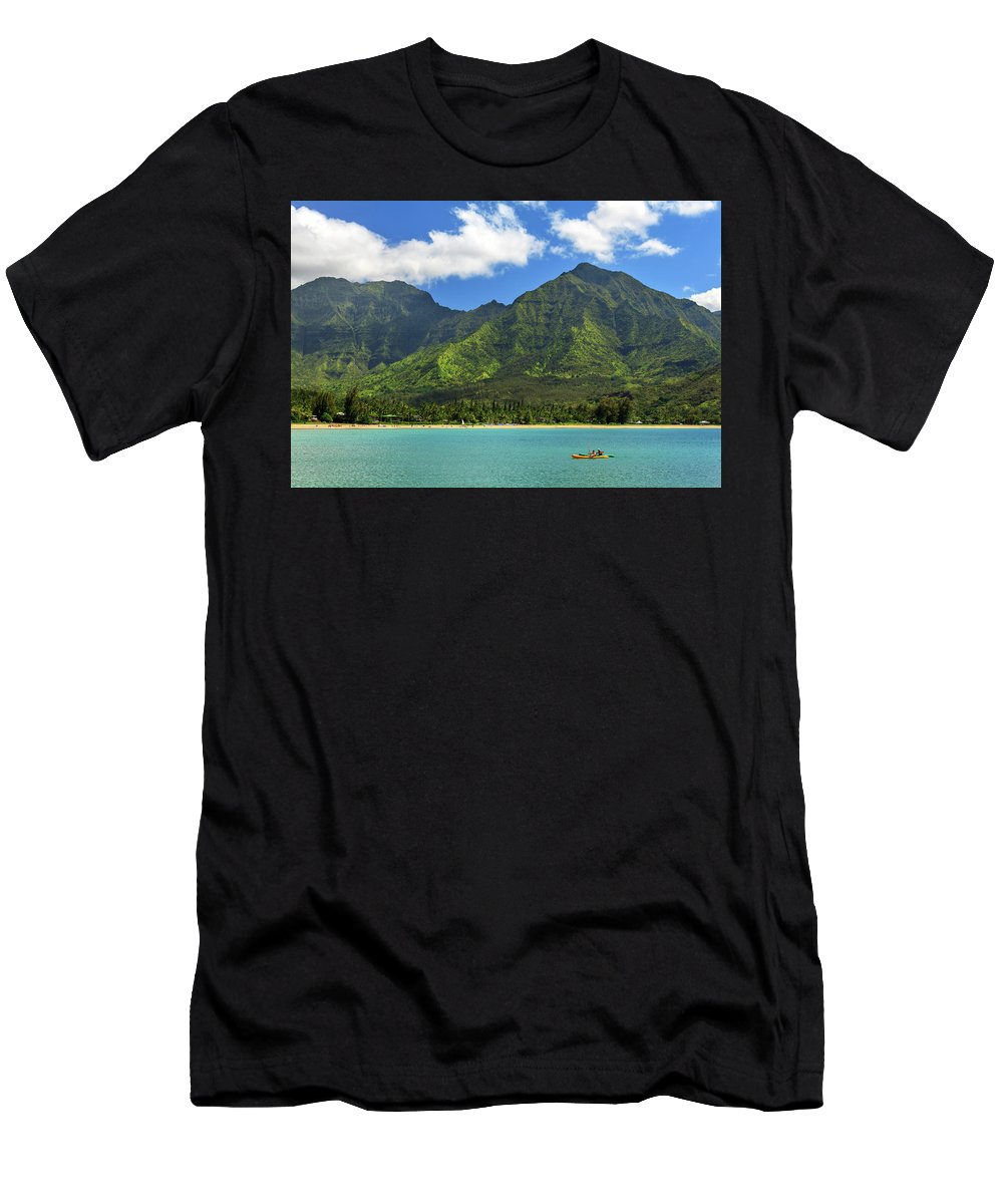 Kayak Men's T-Shirt (Athletic Fit) featuring the photograph Kayaks In Hanalei Bay by James Eddy