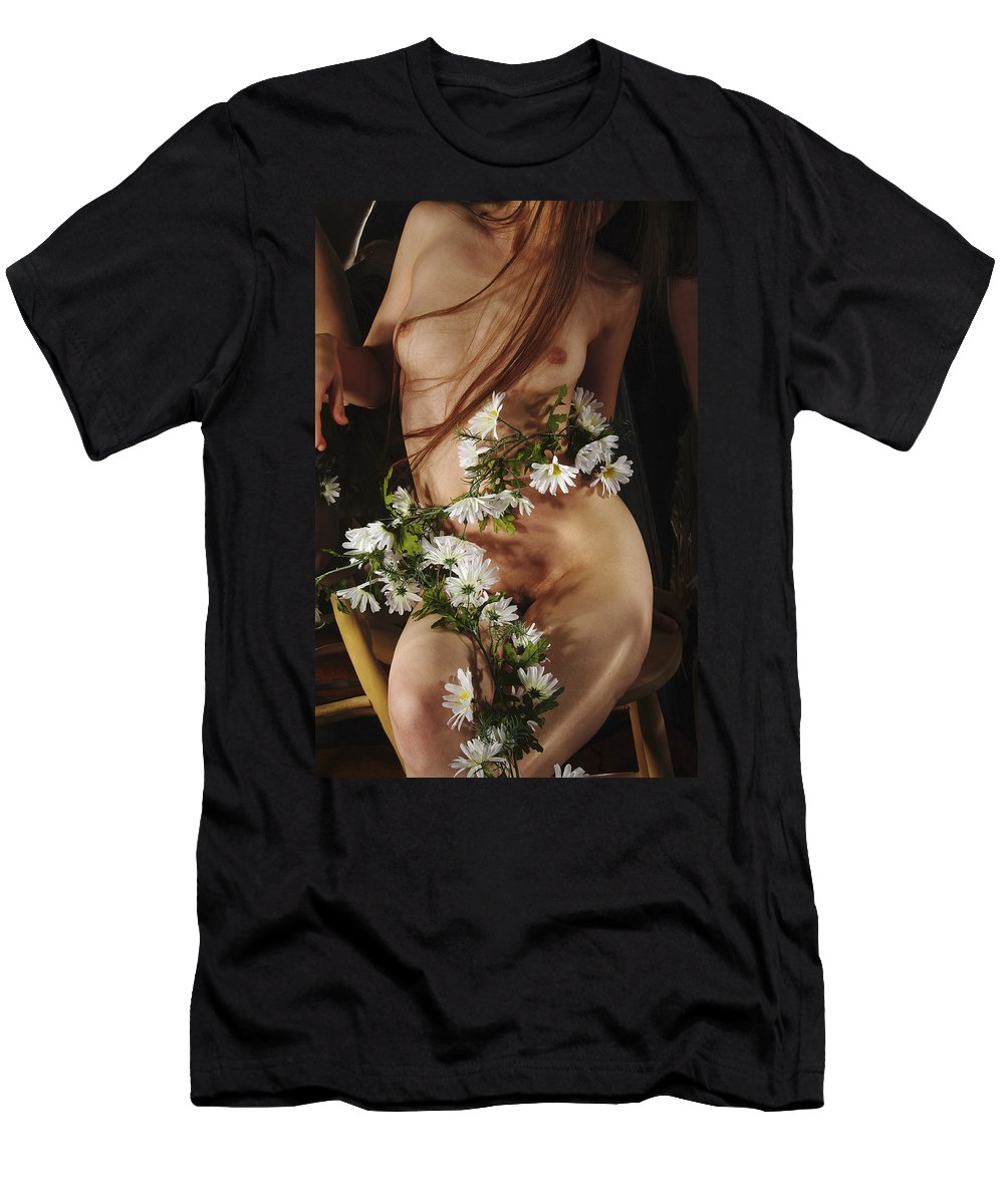 Female Nude Abstract Mirrors Flowers Photographs Men's T-Shirt (Athletic Fit) featuring the photograph Kazi1138 by Henry Butz
