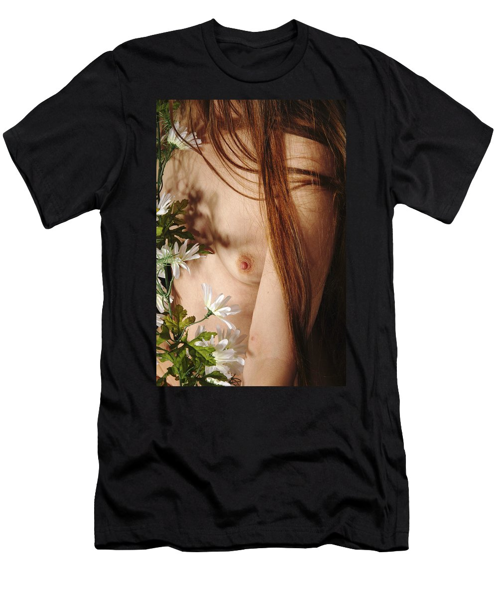 Female Nude Abstract Mirrors Flowers Men's T-Shirt (Athletic Fit) featuring the photograph Kazi1141 by Henry Butz