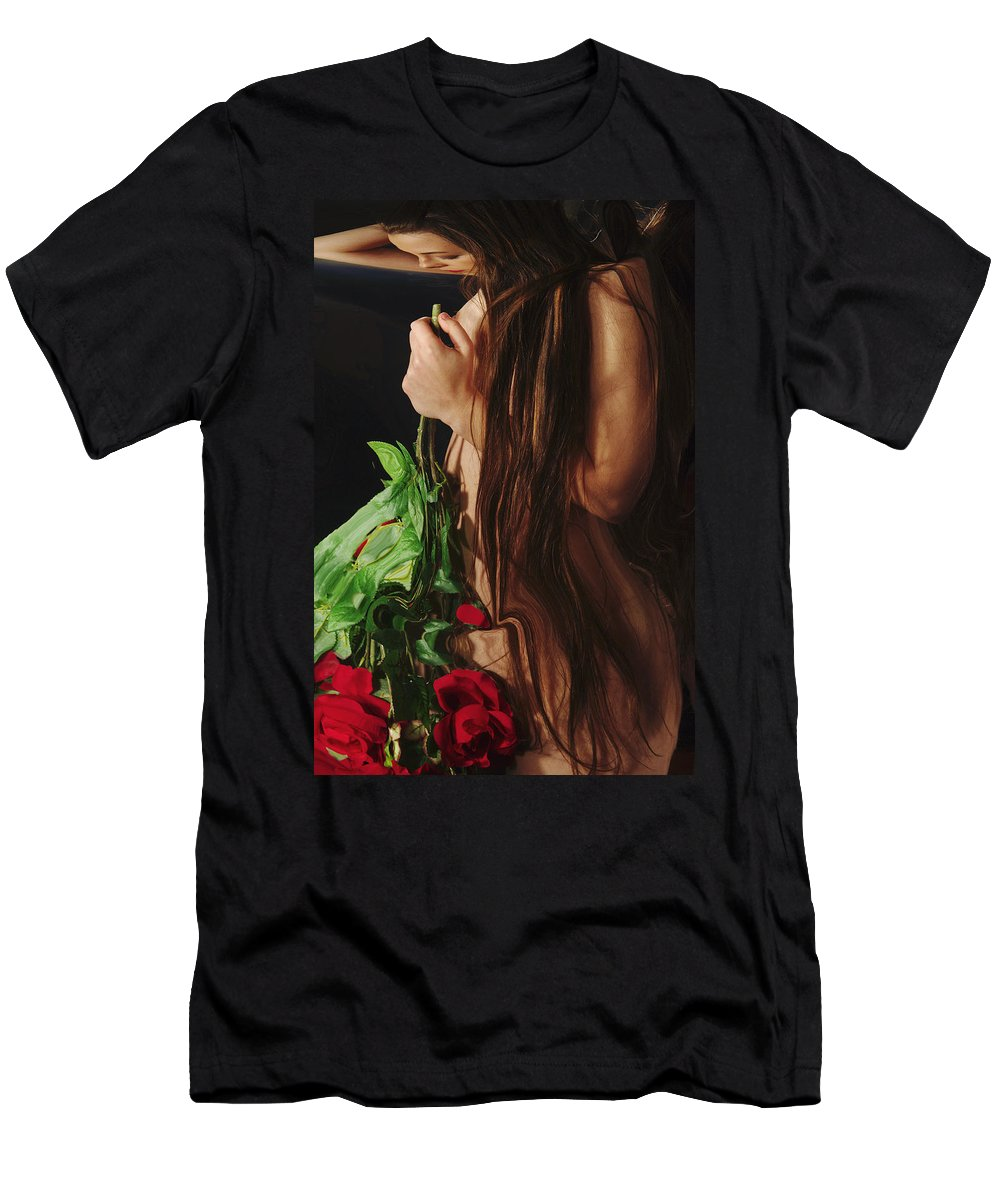 Female Nude Abstract Mirrors Flowers Men's T-Shirt (Athletic Fit) featuring the photograph Kazi1179 by Henry Butz