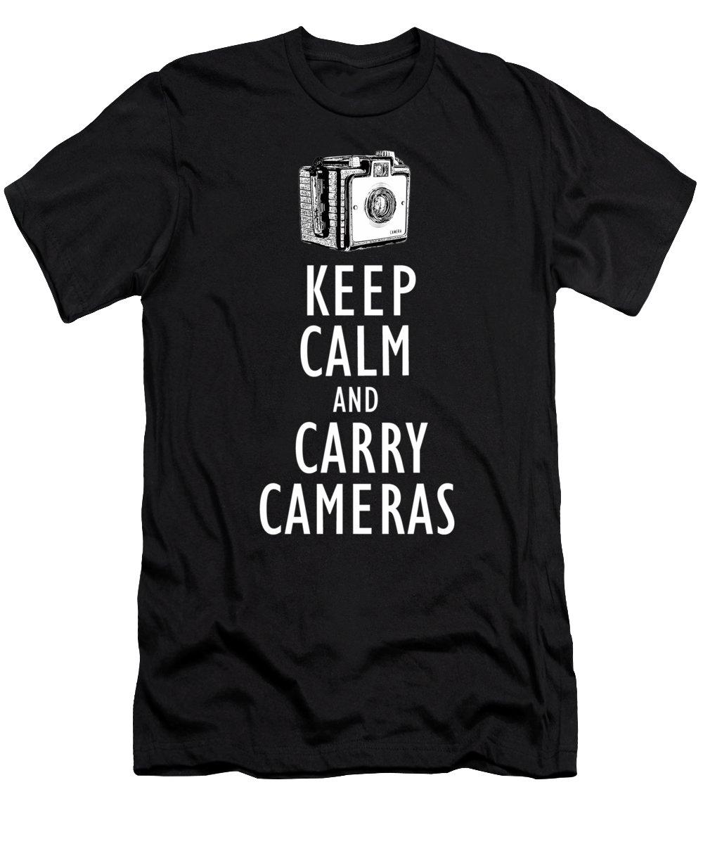Photographer Men's T-Shirt (Athletic Fit) featuring the drawing Keep Calm And Carry Cameras Tee by Edward Fielding