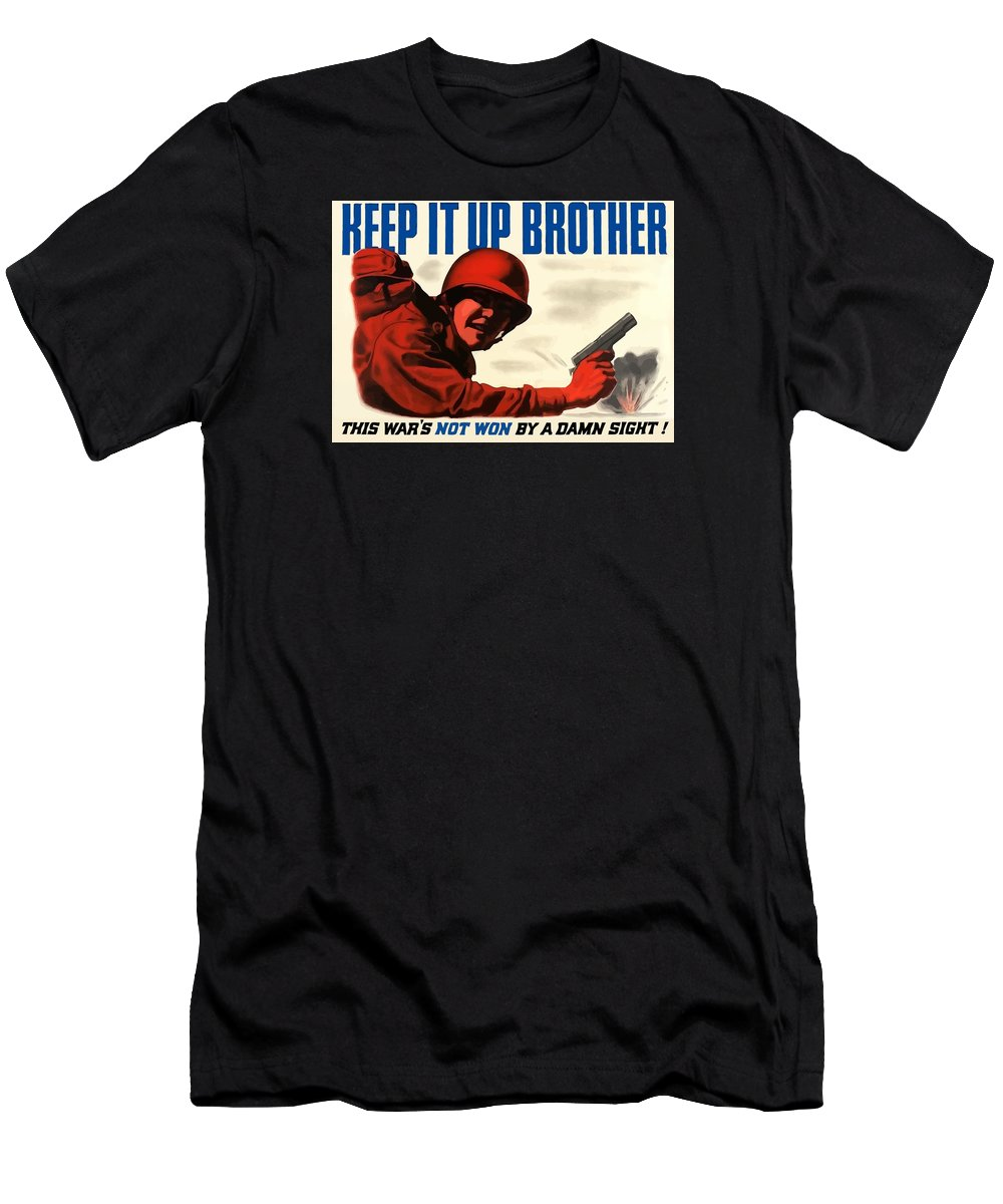 Ww2 Men's T-Shirt (Athletic Fit) featuring the painting Keep It Up Brother by War Is Hell Store