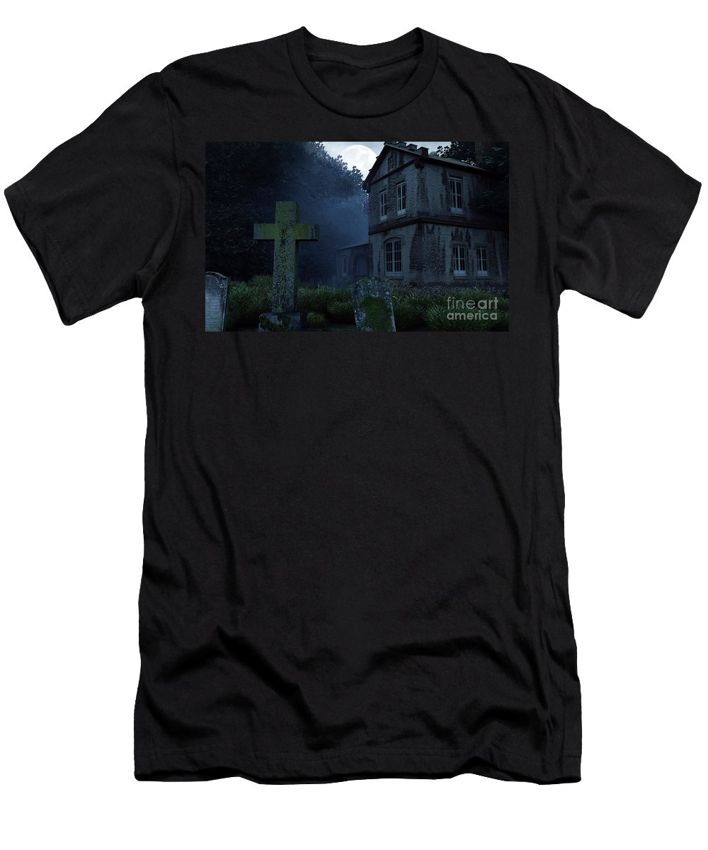 Dark Men's T-Shirt (Athletic Fit) featuring the digital art Keepers Of The Manor by Richard Rizzo