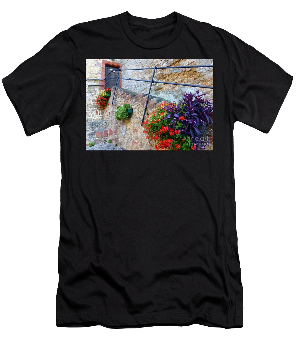 Flowers Men's T-Shirt (Athletic Fit) featuring the photograph Kein Zutritt by Barbie Corbett-Newmin