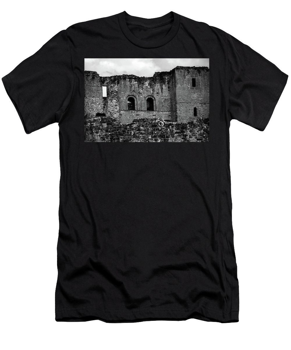 B&w Men's T-Shirt (Athletic Fit) featuring the photograph Kenilworth Castle 3 by Sol Revolver