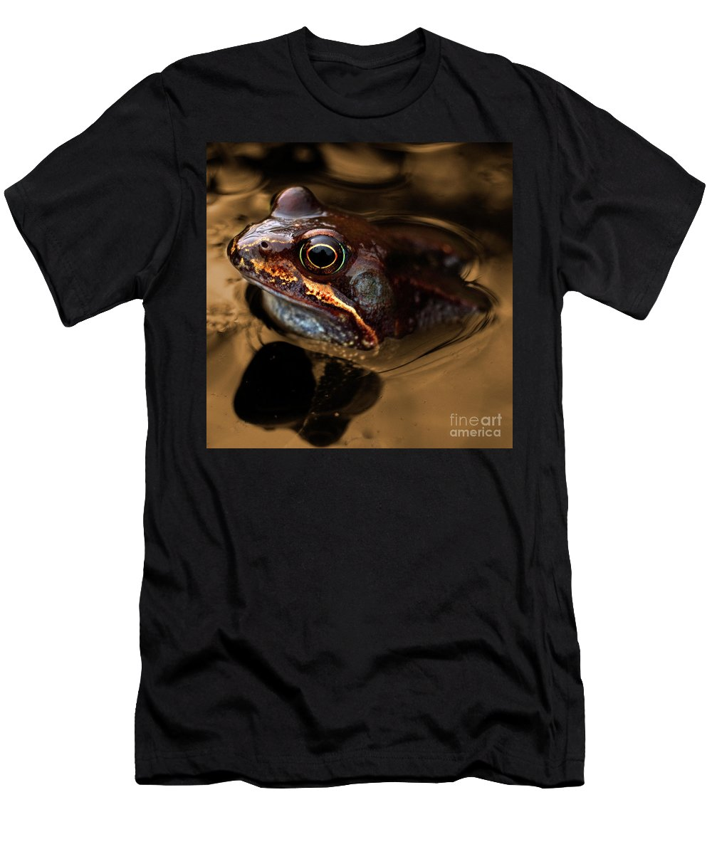 Frog Men's T-Shirt (Athletic Fit) featuring the photograph Kermitt In Bronze by Rob Hawkins