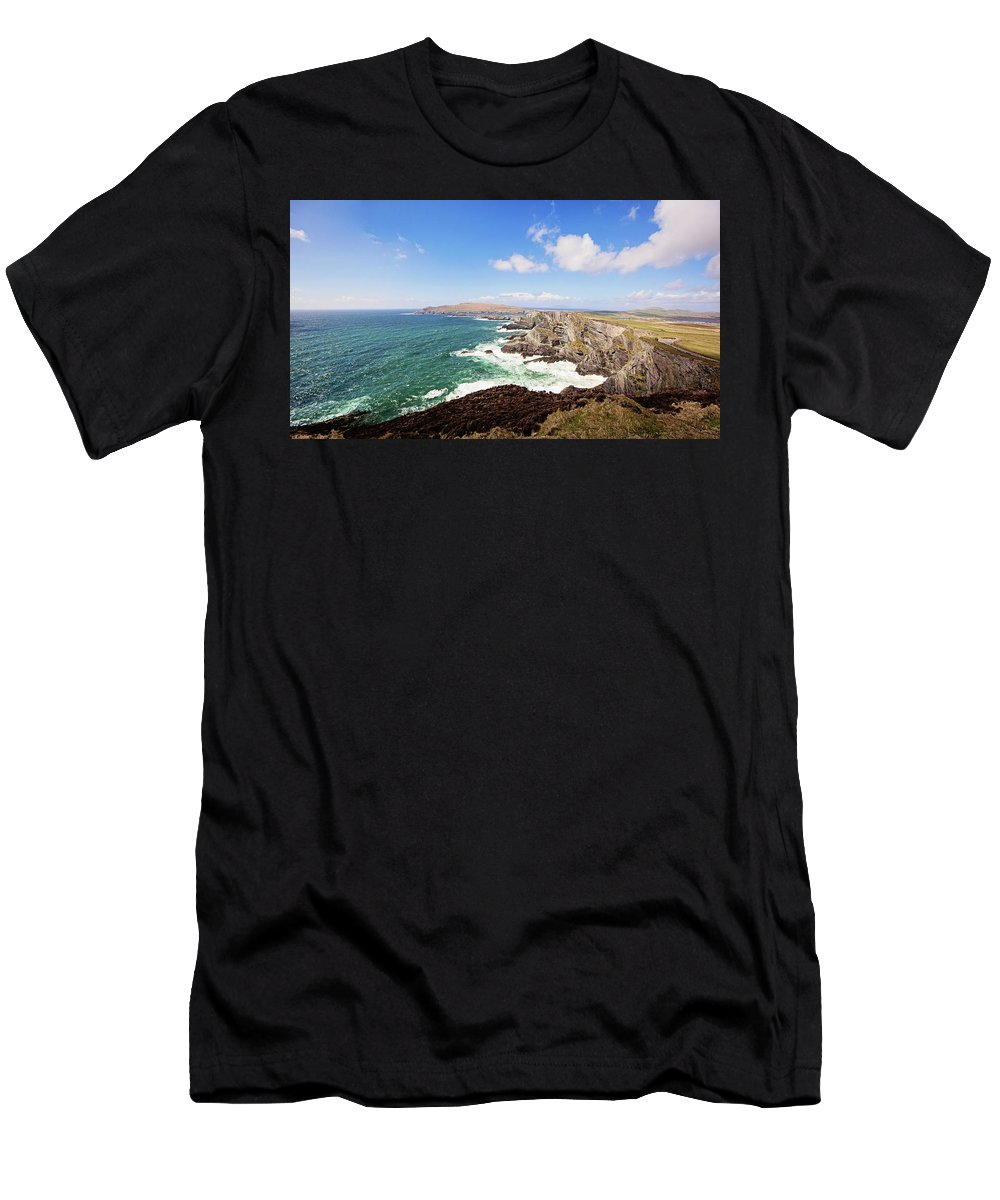 Kerry Cliffs Men's T-Shirt (Athletic Fit) featuring the photograph Kerry Cliffs Panoramic by Scott Pellegrin