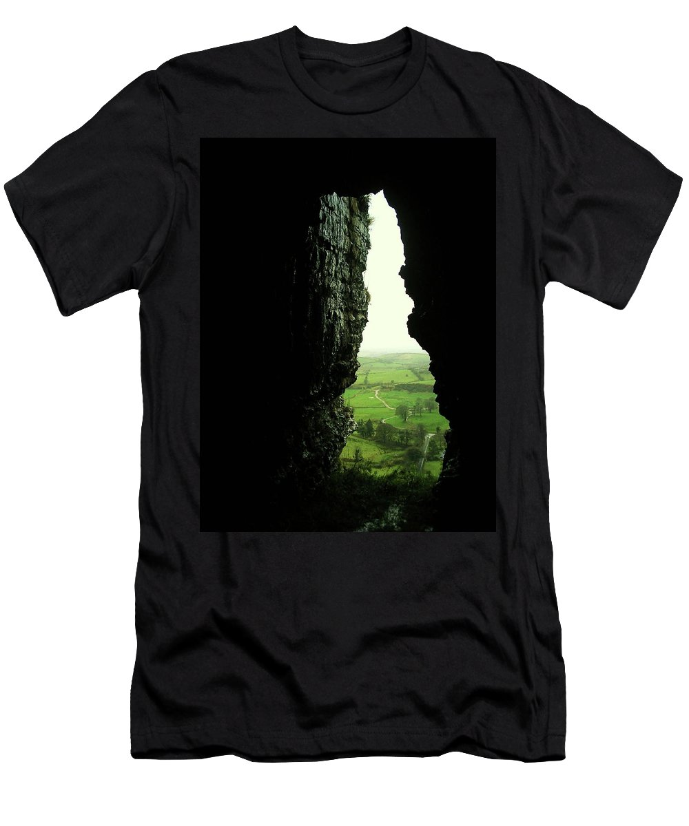 Landscape Men's T-Shirt (Athletic Fit) featuring the photograph Kesh Caves Co Sligo Ireland by Louise Macarthur Art and Photography