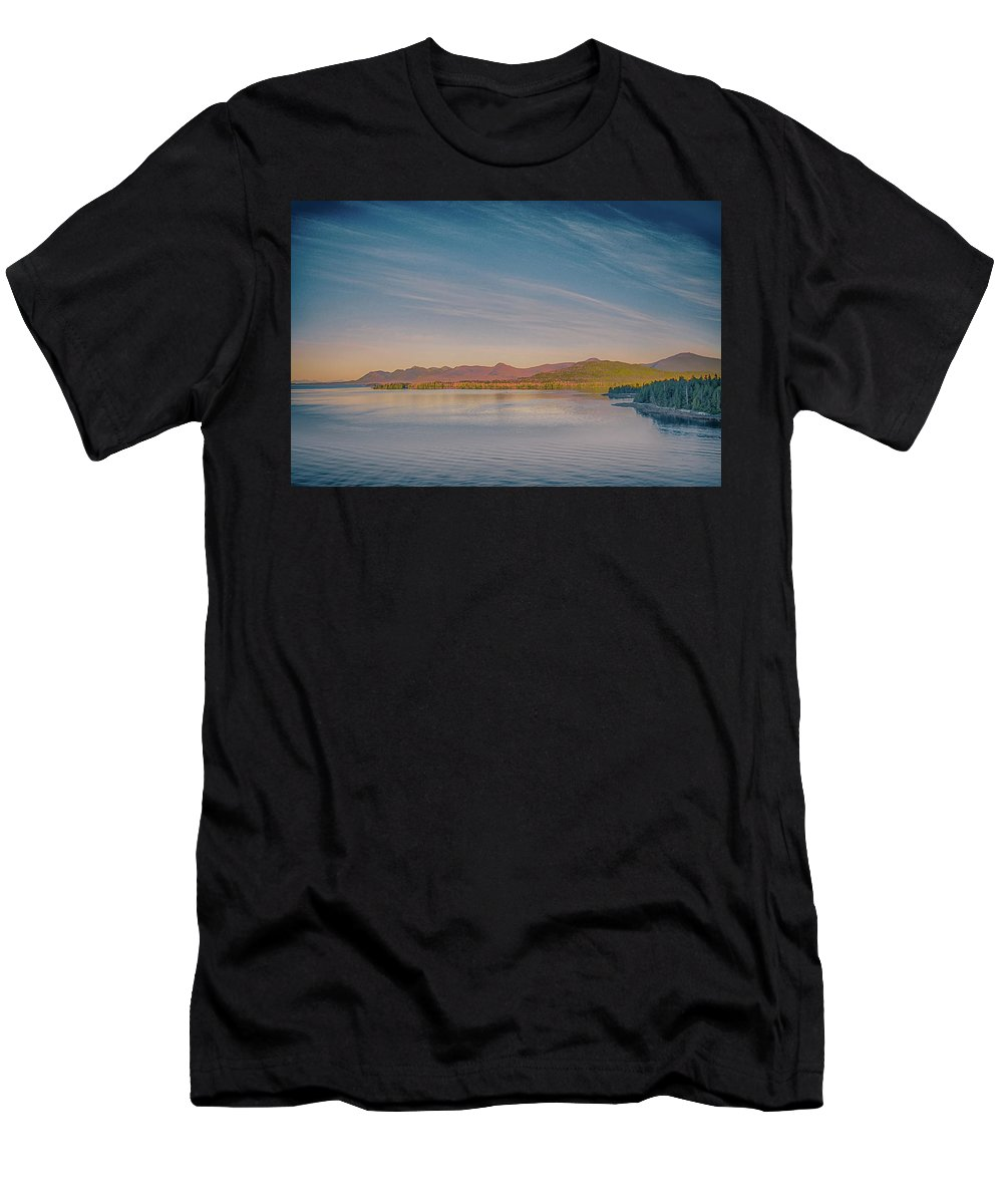 Downtown Men's T-Shirt (Athletic Fit) featuring the photograph ketchikan alaska downtown of a northern USA town by Alex Grichenko