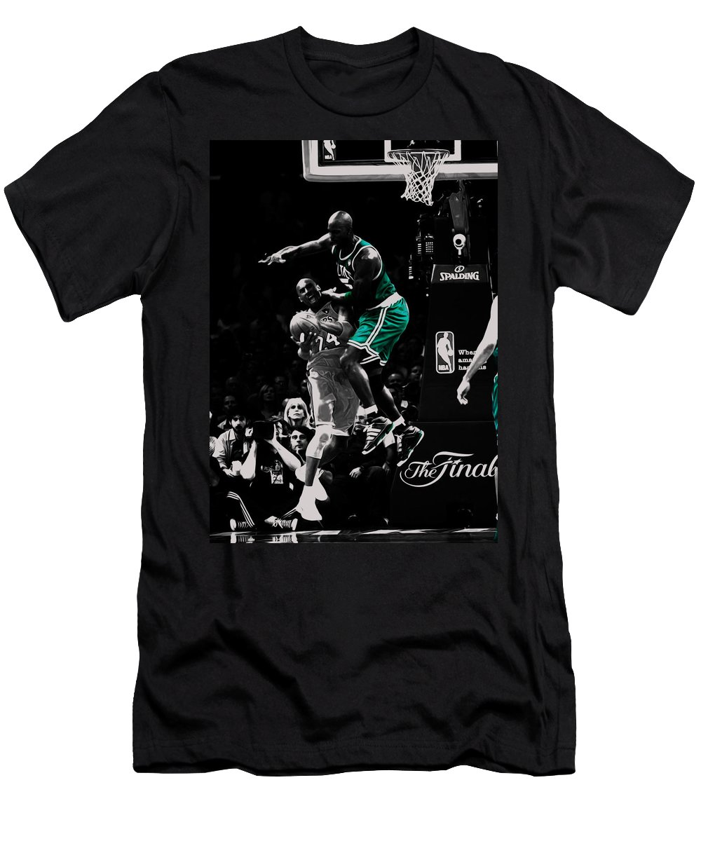 Kevin Garnett Men's T-Shirt (Athletic Fit) featuring the mixed media Kevin Garnett Not In Here by Brian Reaves