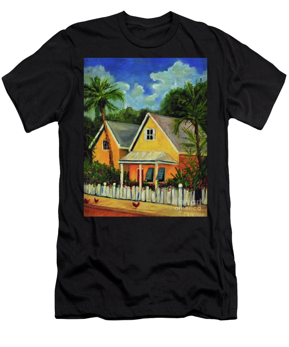 Key Men's T-Shirt (Athletic Fit) featuring the painting Key West Cottage by Carolyn Shireman