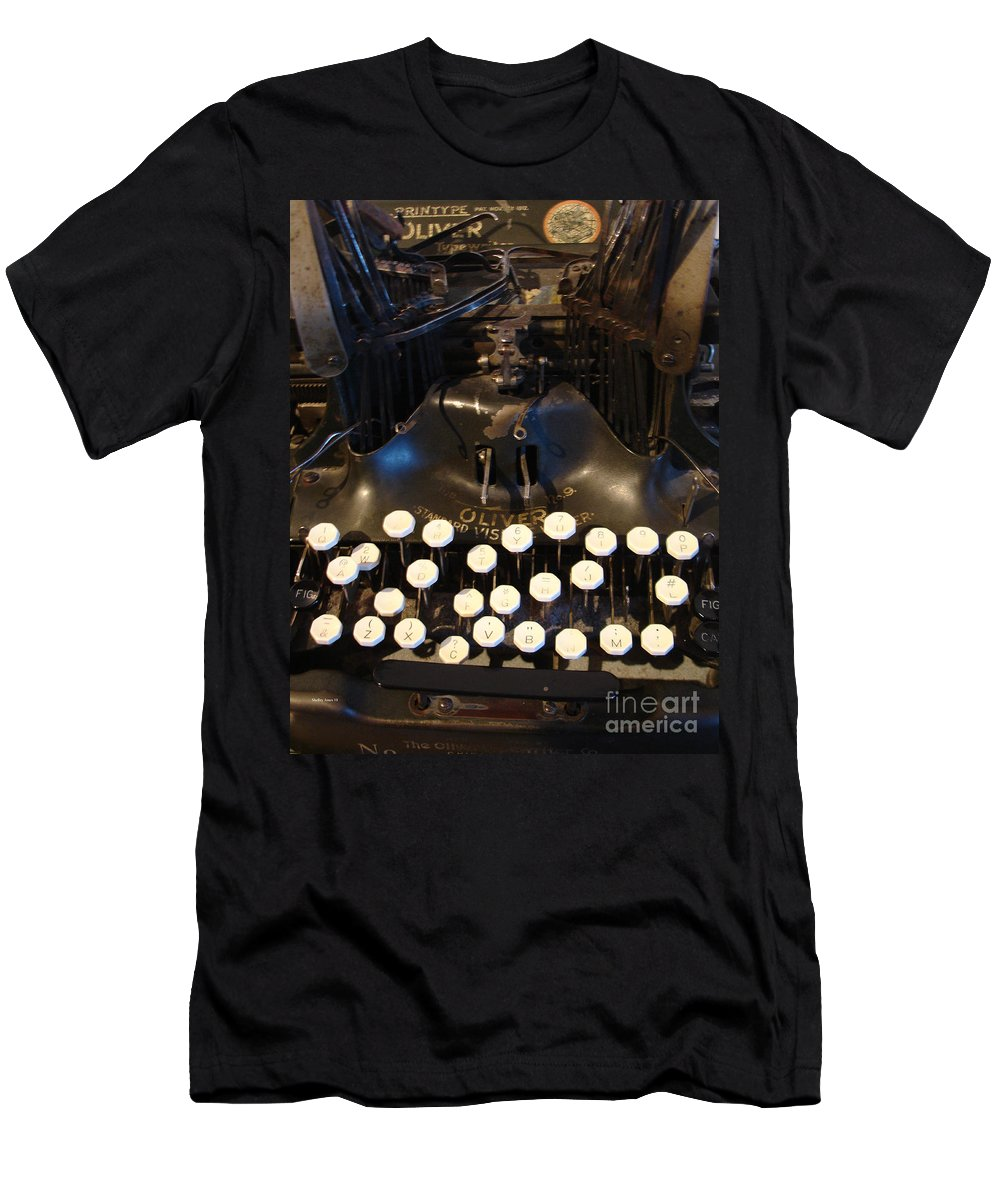 Typewriter Men's T-Shirt (Athletic Fit) featuring the photograph Keys Of Time by Shelley Jones