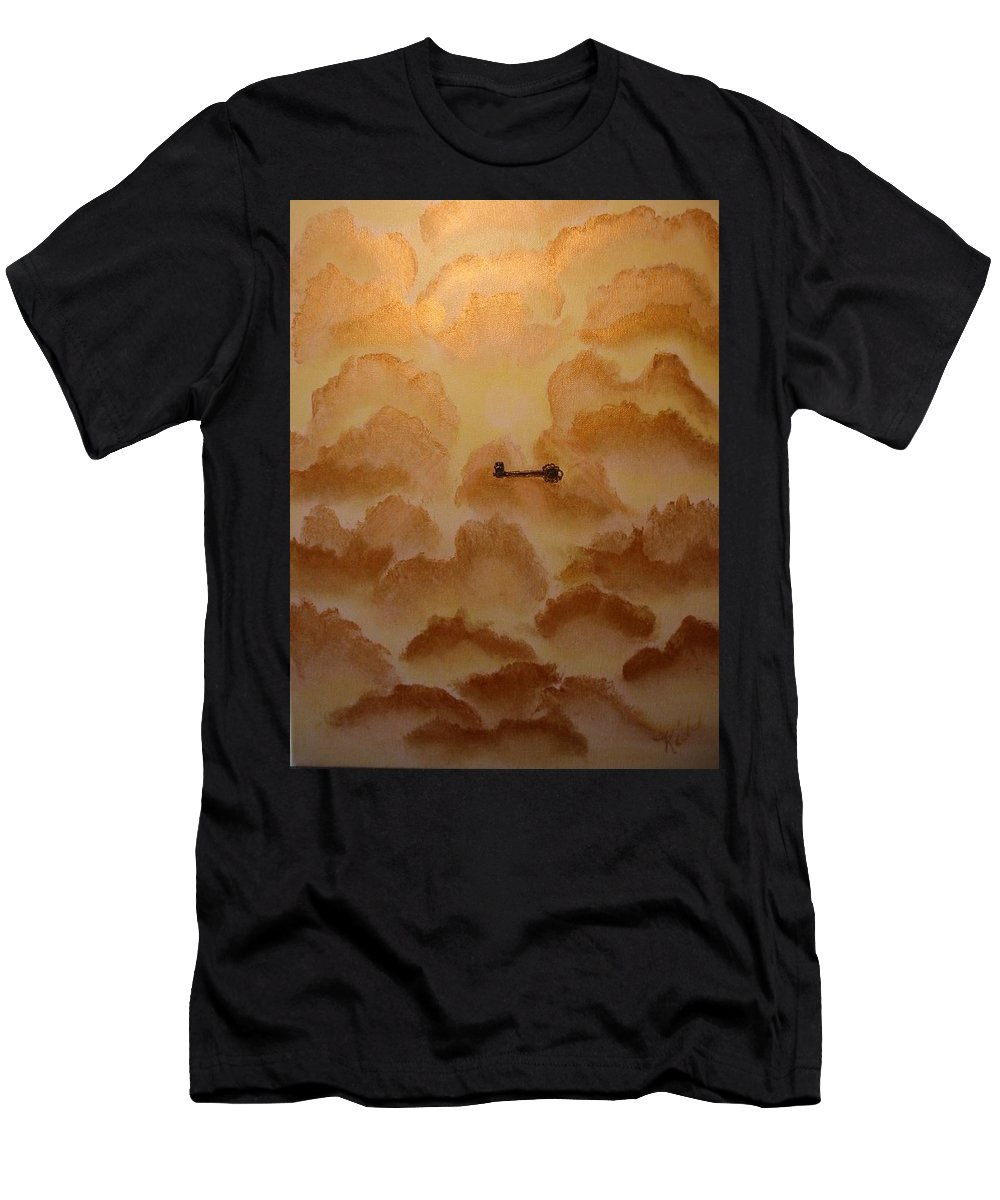 Gold Men's T-Shirt (Athletic Fit) featuring the painting Keys To The Kingdom by Laurie Kidd